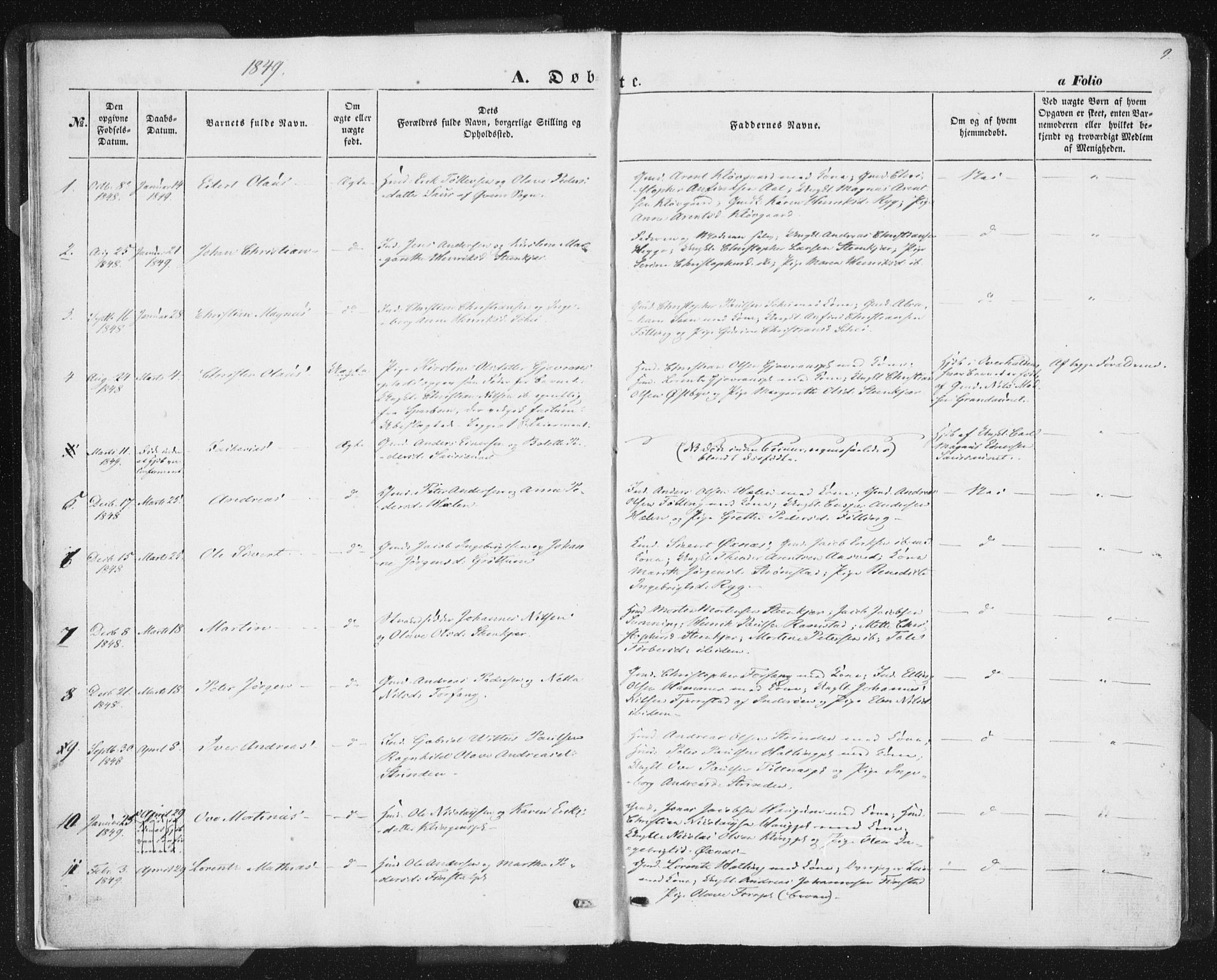 SAT, Ministerialprotokoller, klokkerbøker og fødselsregistre - Nord-Trøndelag, 746/L0446: Ministerialbok nr. 746A05, 1846-1859, s. 9