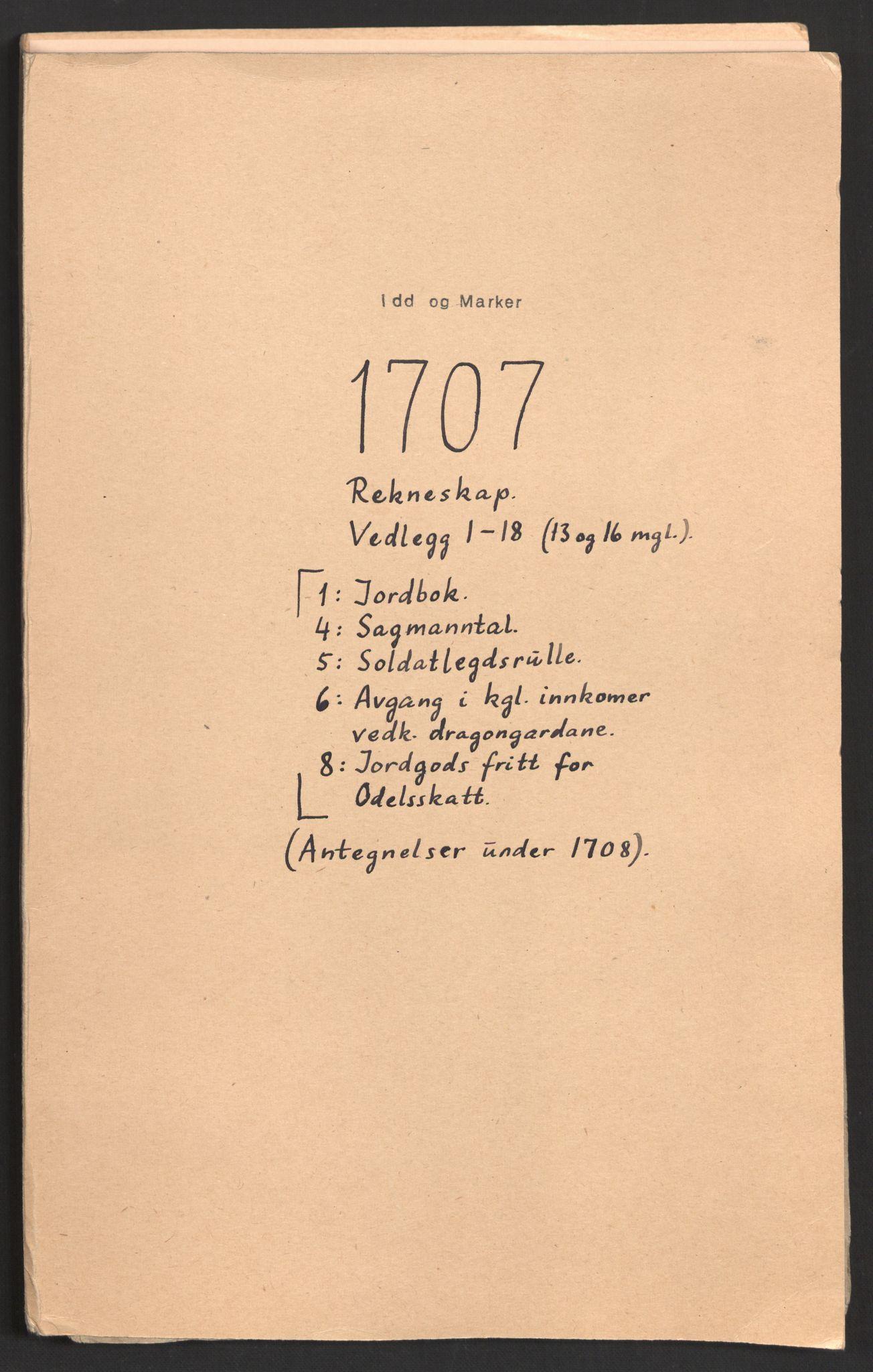 RA, Rentekammeret inntil 1814, Reviderte regnskaper, Fogderegnskap, R01/L0018: Fogderegnskap Idd og Marker, 1707-1709, s. 2