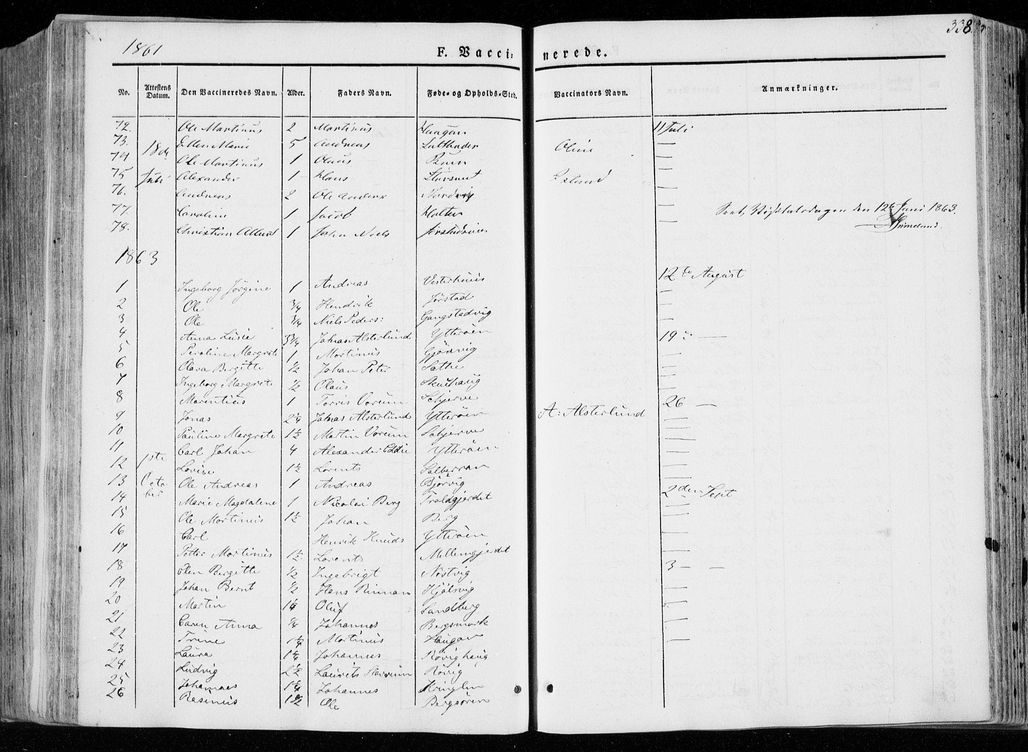 SAT, Ministerialprotokoller, klokkerbøker og fødselsregistre - Nord-Trøndelag, 722/L0218: Ministerialbok nr. 722A05, 1843-1868, s. 338