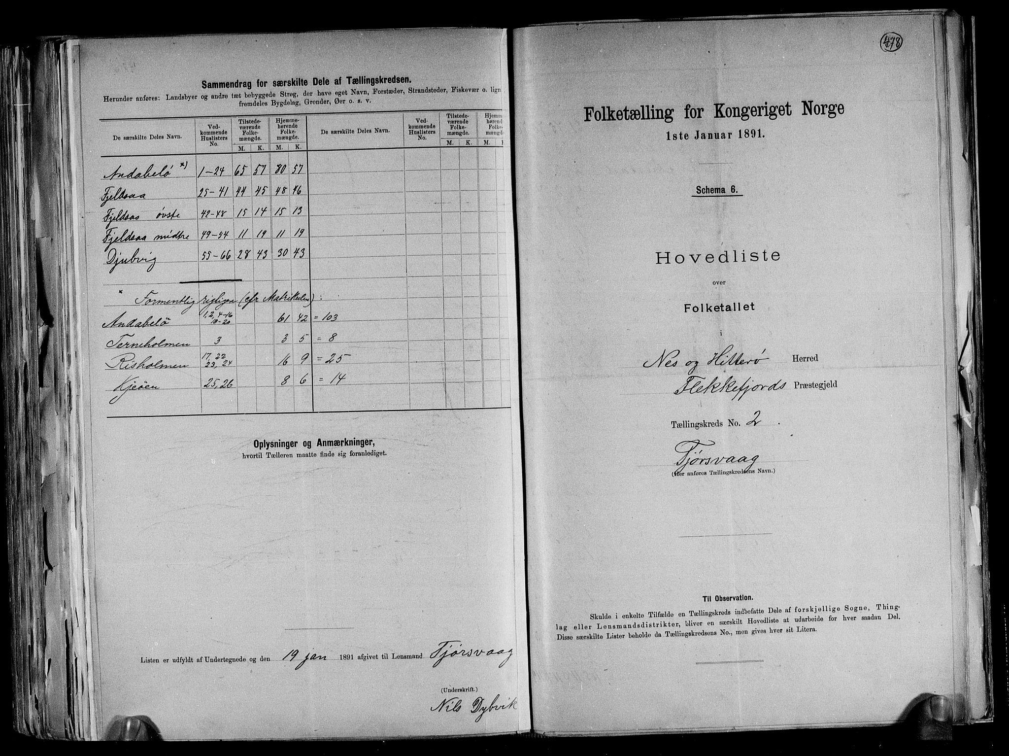 RA, Folketelling 1891 for 1043 Hidra og Nes herred, 1891, s. 7