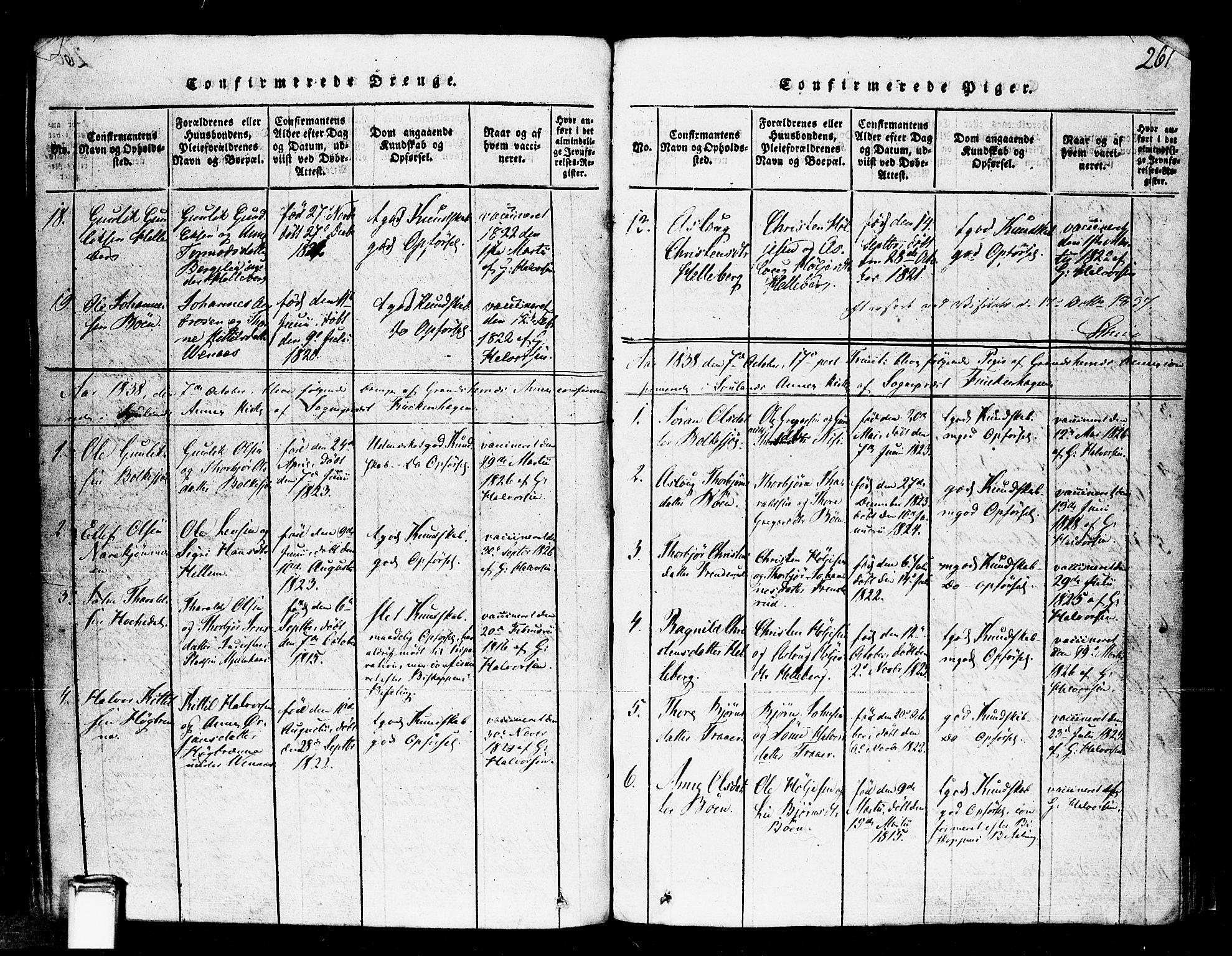 SAKO, Gransherad kirkebøker, F/Fa/L0001: Ministerialbok nr. I 1, 1815-1843, s. 261