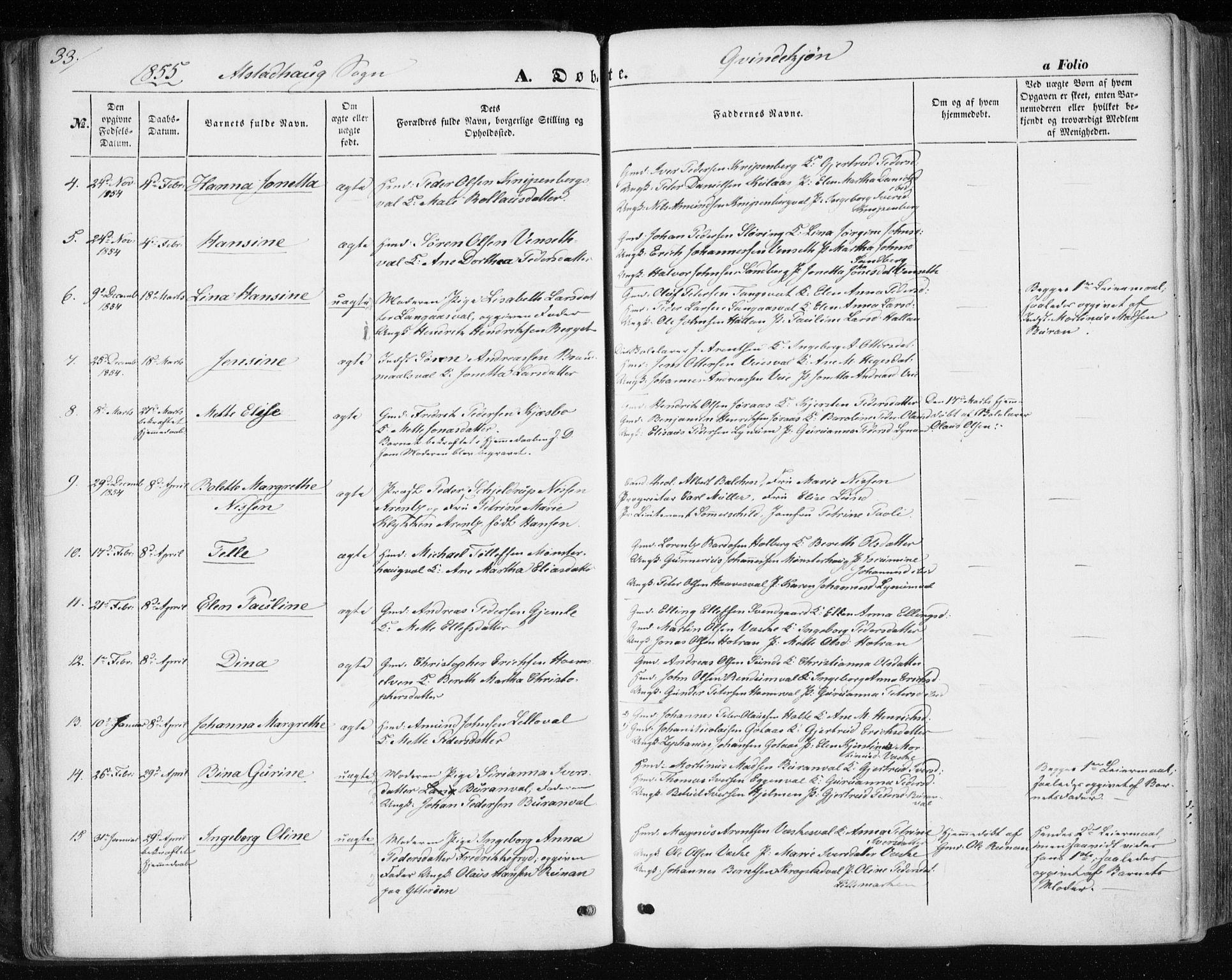 SAT, Ministerialprotokoller, klokkerbøker og fødselsregistre - Nord-Trøndelag, 717/L0154: Ministerialbok nr. 717A07 /1, 1850-1862, s. 33