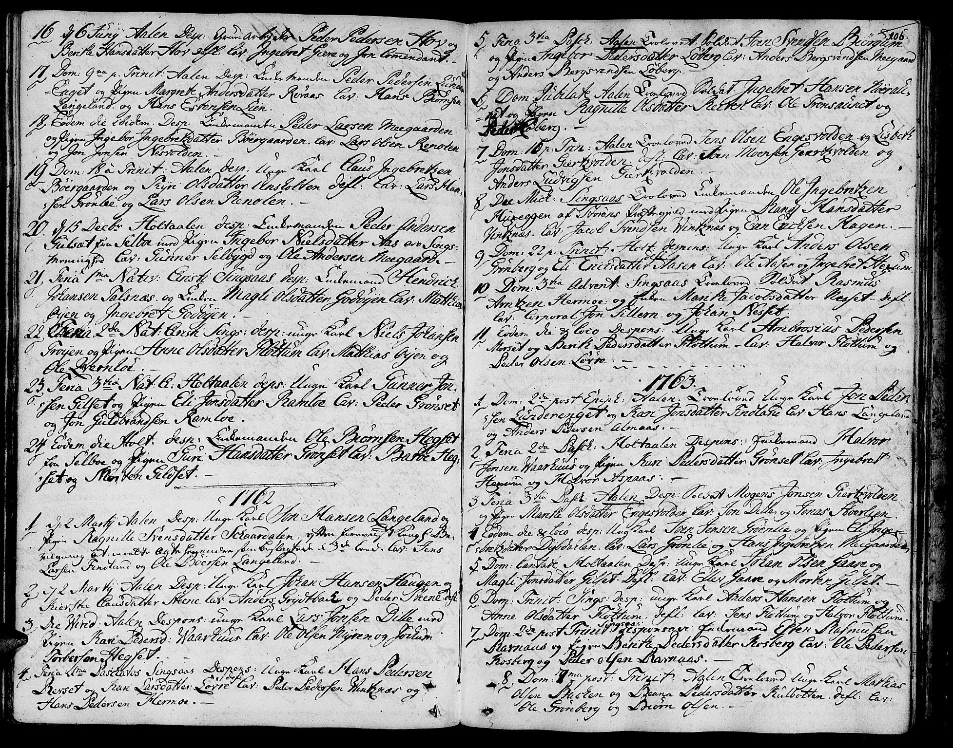 SAT, Ministerialprotokoller, klokkerbøker og fødselsregistre - Sør-Trøndelag, 685/L0952: Ministerialbok nr. 685A01, 1745-1804, s. 106