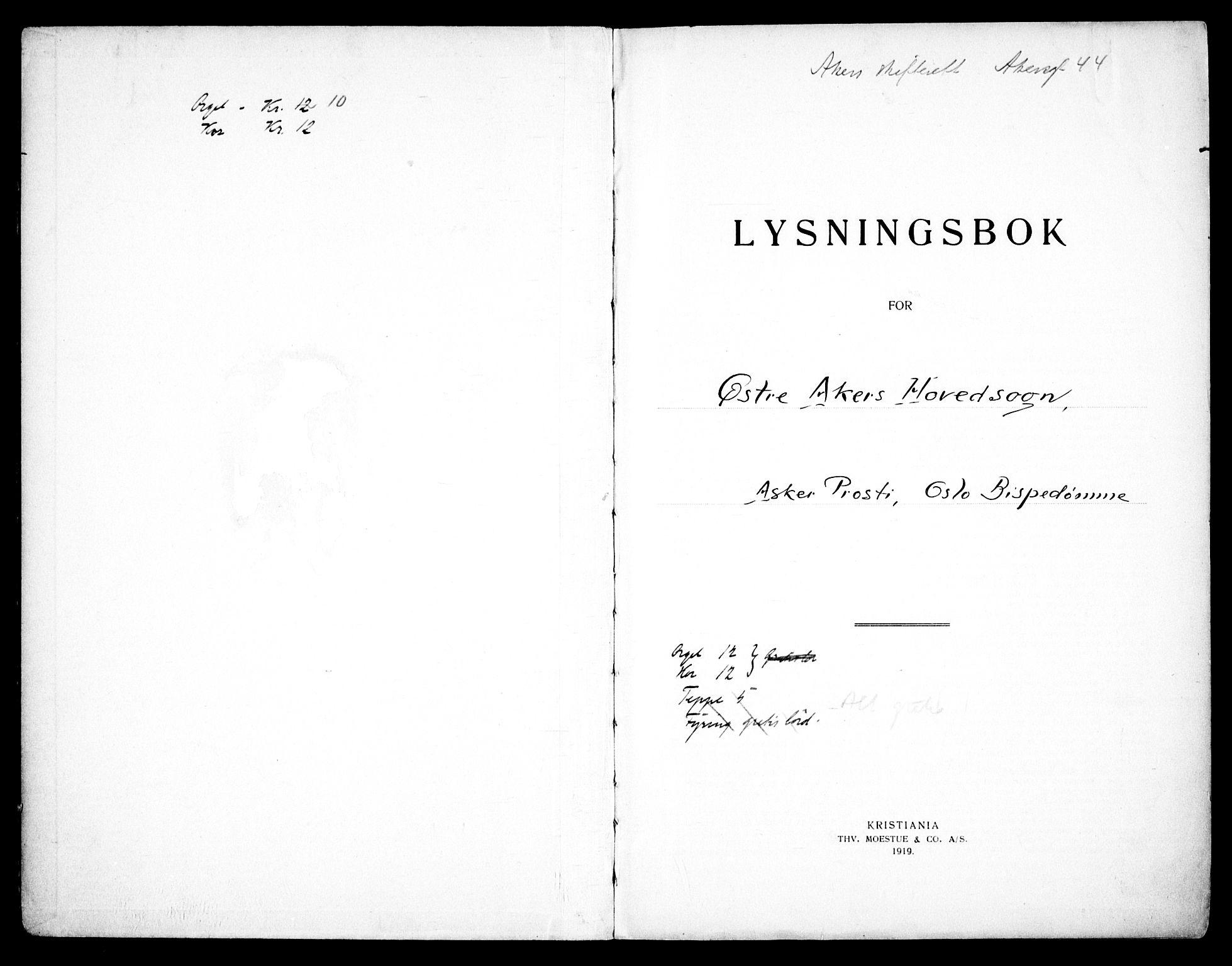 SAO, Østre Aker prestekontor Kirkebøker, H/Ha/L0008: Lysningsprotokoll nr. I 8, 1933-1939
