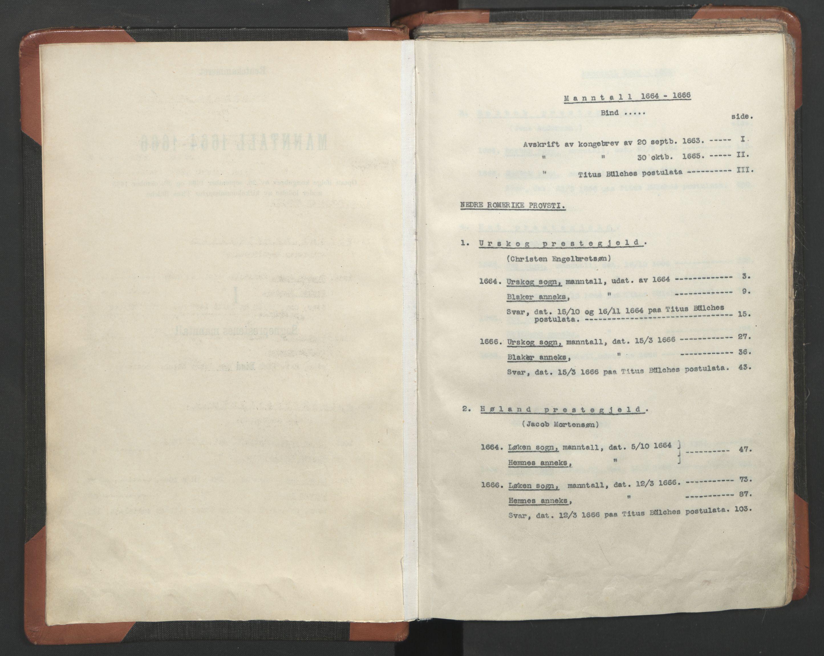 RA, Sogneprestenes manntall 1664-1666, nr. 3: Nedre Romerike prosti, 1664-1666, s. upaginert