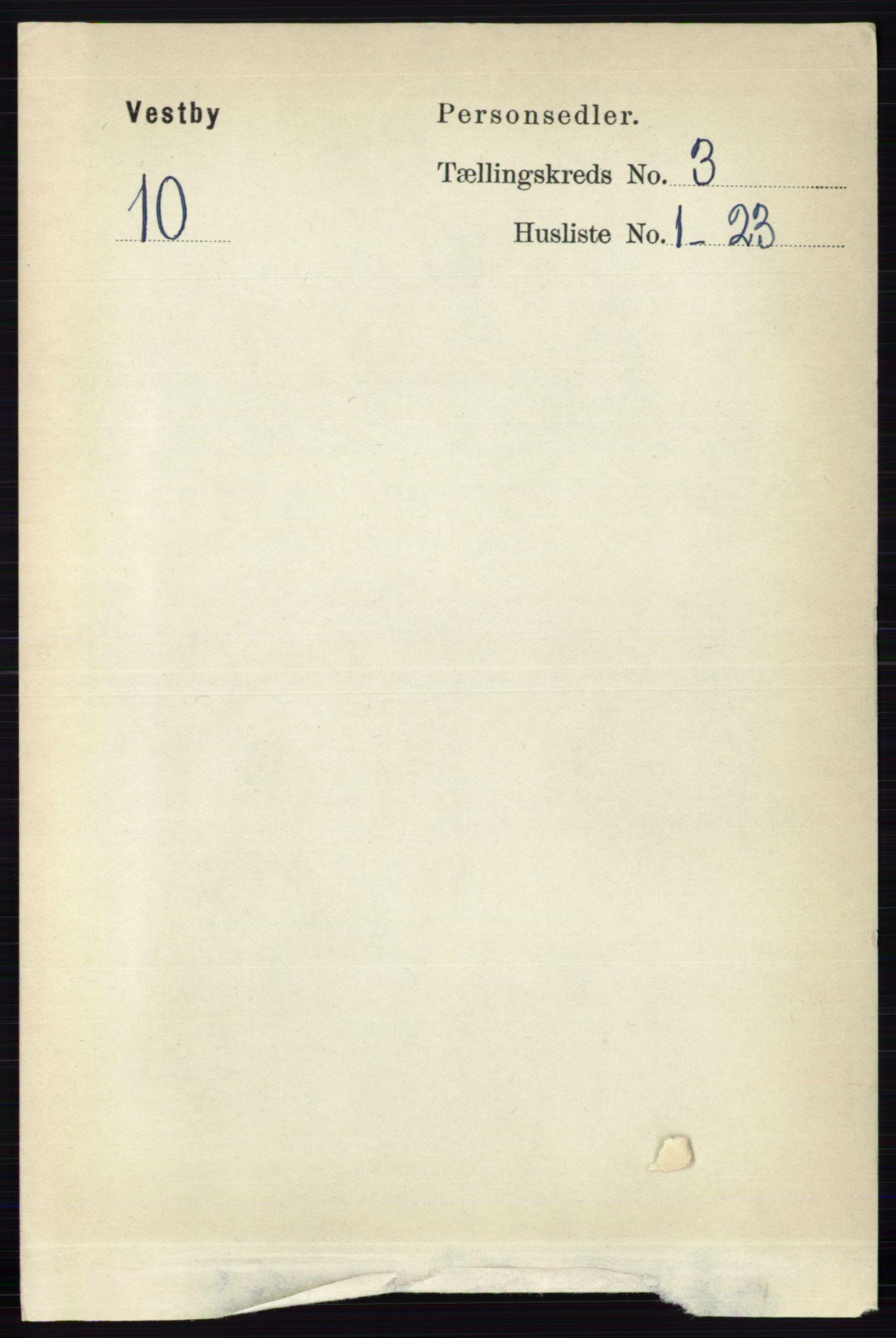 RA, Folketelling 1891 for 0211 Vestby herred, 1891, s. 1030
