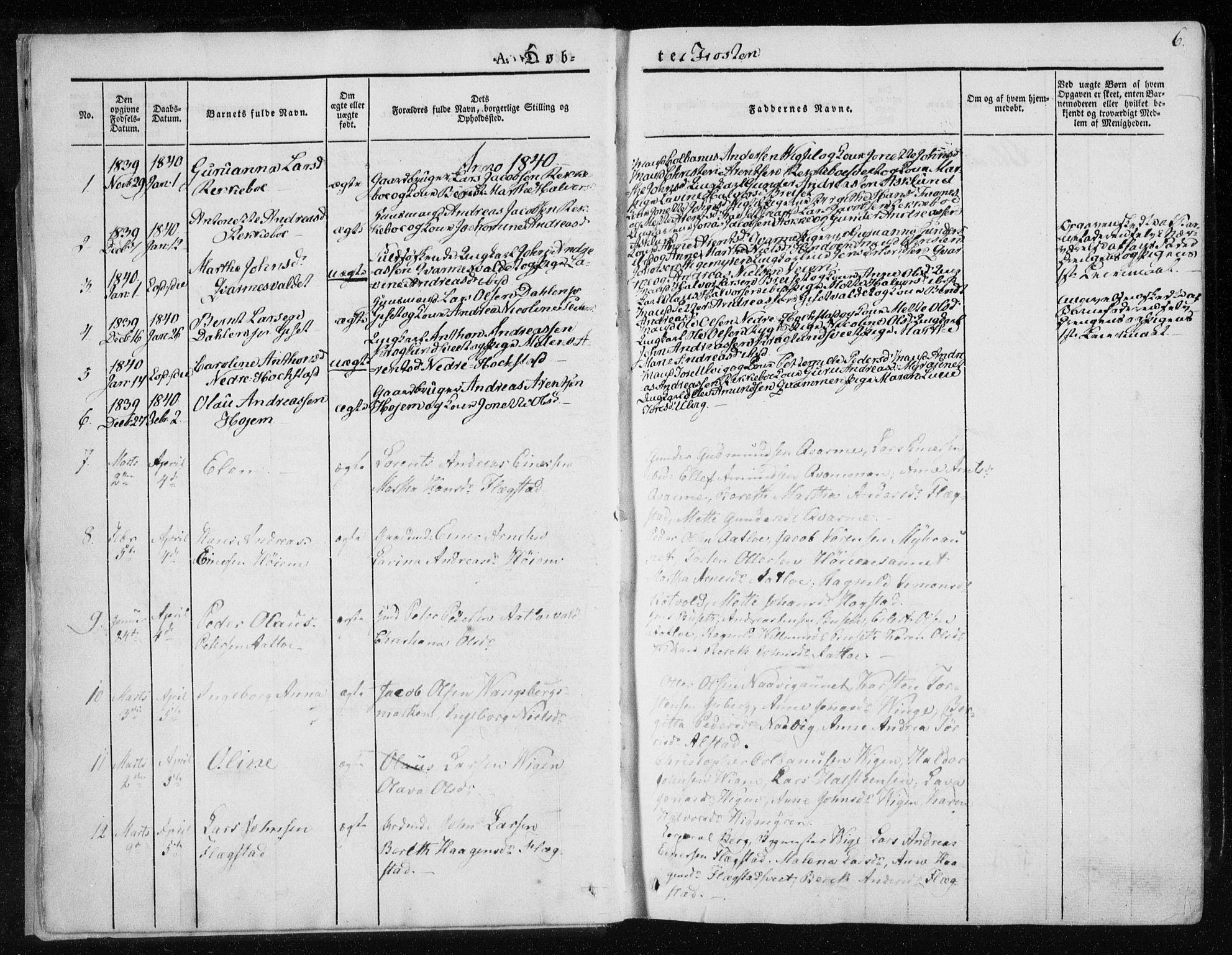SAT, Ministerialprotokoller, klokkerbøker og fødselsregistre - Nord-Trøndelag, 713/L0115: Ministerialbok nr. 713A06, 1838-1851, s. 6