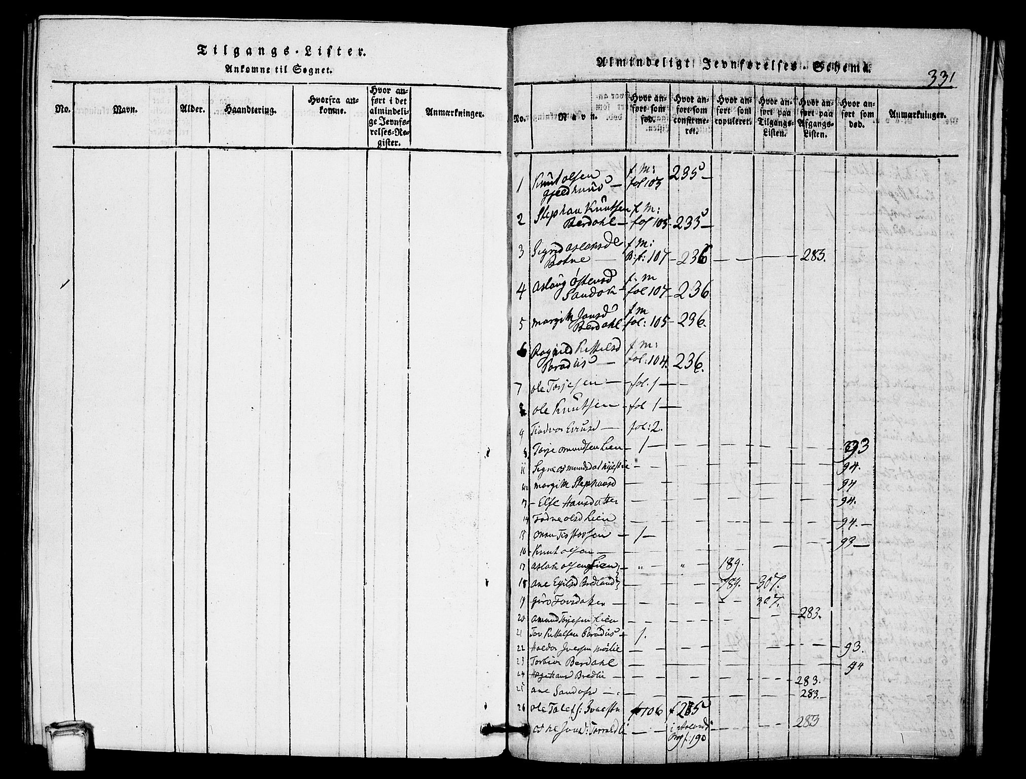 SAKO, Vinje kirkebøker, G/Gb/L0001: Klokkerbok nr. II 1, 1814-1843, s. 331