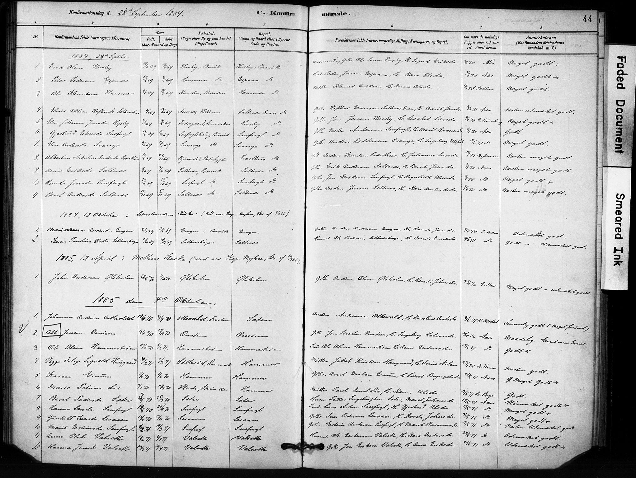 SAT, Ministerialprotokoller, klokkerbøker og fødselsregistre - Sør-Trøndelag, 666/L0786: Ministerialbok nr. 666A04, 1878-1895, s. 44