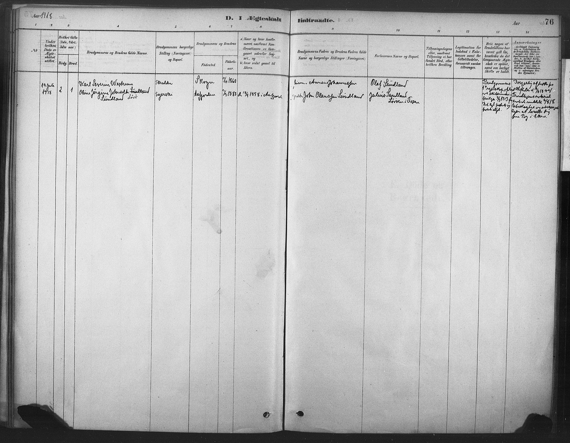 SAT, Ministerialprotokoller, klokkerbøker og fødselsregistre - Nord-Trøndelag, 719/L0178: Ministerialbok nr. 719A01, 1878-1900, s. 76