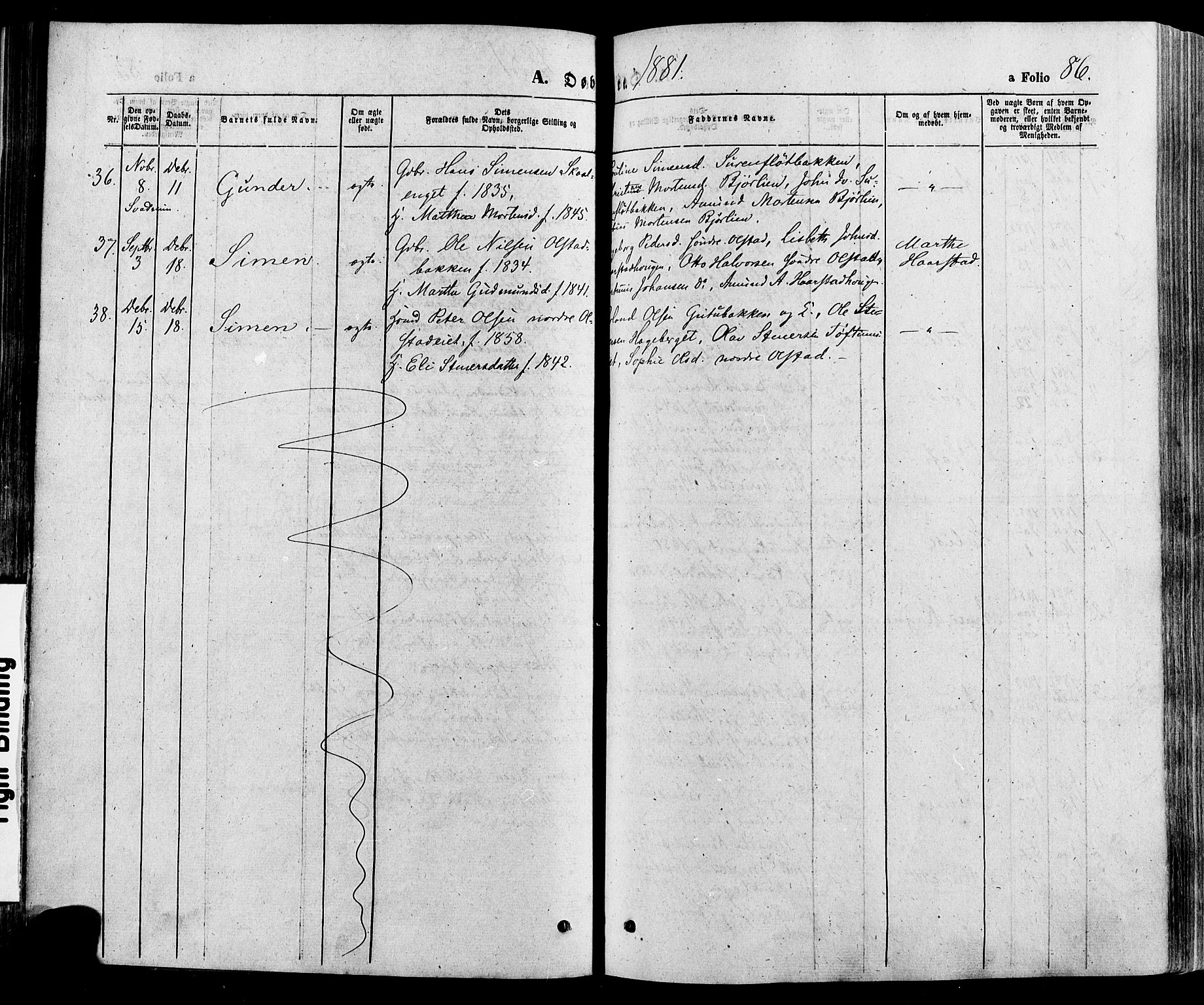 SAH, Gausdal prestekontor, Ministerialbok nr. 10, 1867-1886, s. 86