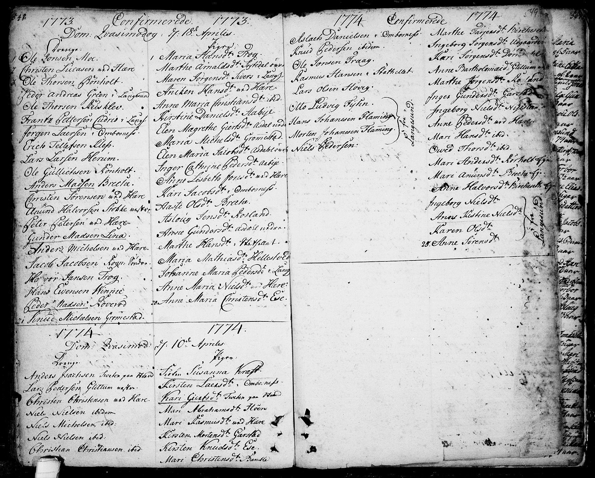 SAKO, Bamble kirkebøker, F/Fa/L0001: Ministerialbok nr. I 1, 1702-1774, s. 548-549