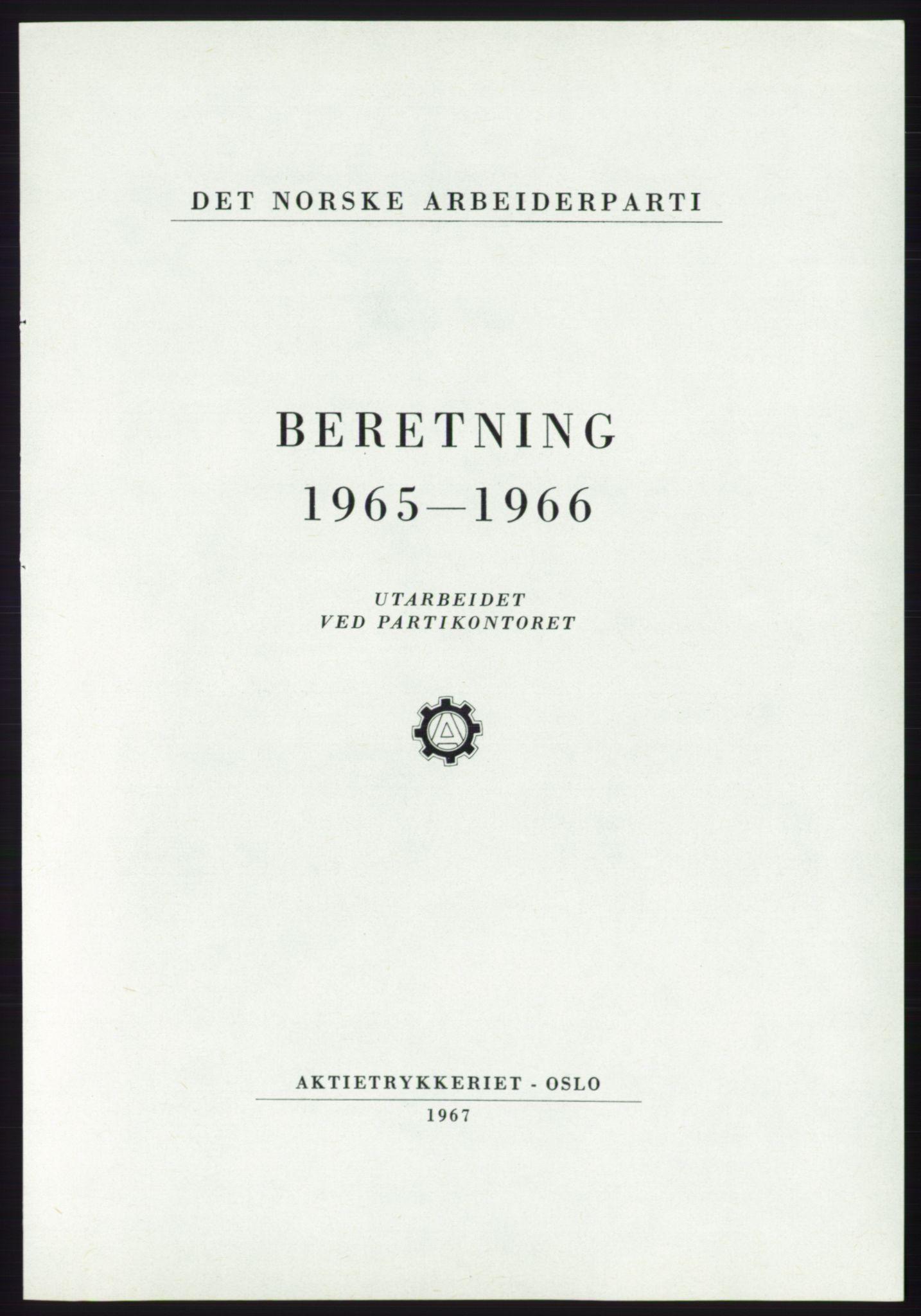 AAB, Det norske Arbeiderparti - publikasjoner, -/-: Beretning 1965-1966, 1965-1966