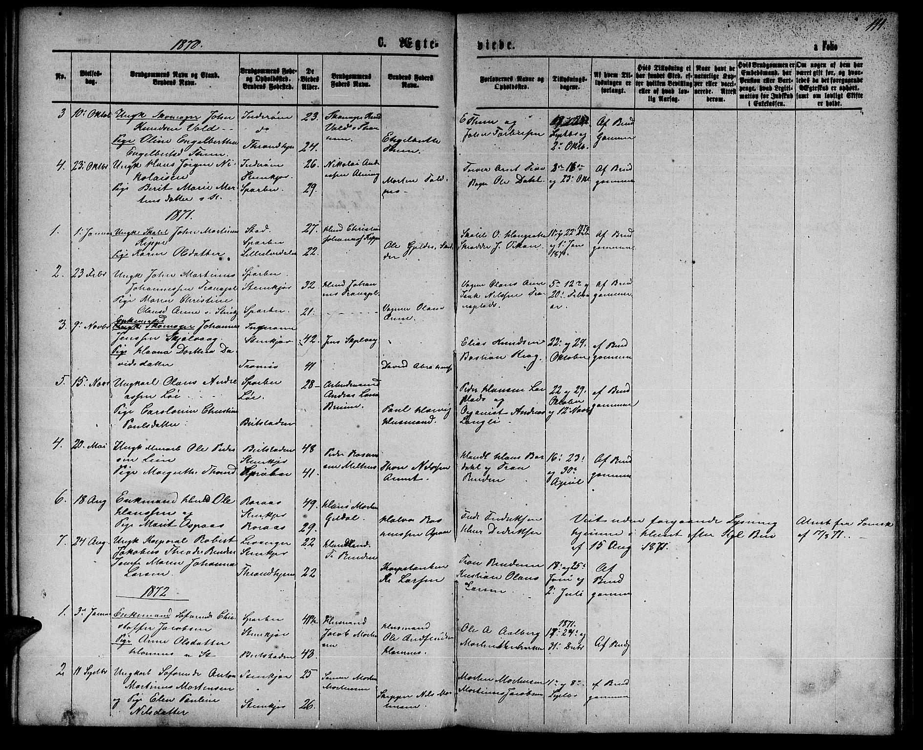 SAT, Ministerialprotokoller, klokkerbøker og fødselsregistre - Nord-Trøndelag, 739/L0373: Klokkerbok nr. 739C01, 1865-1882, s. 111