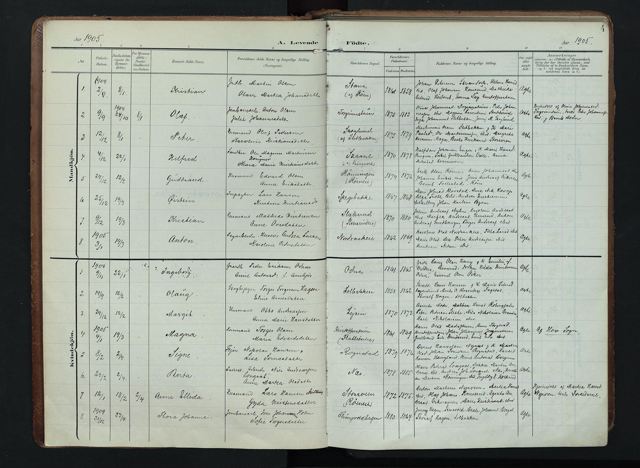 SAH, Søndre Land prestekontor, K/L0005: Ministerialbok nr. 5, 1905-1914, s. 4