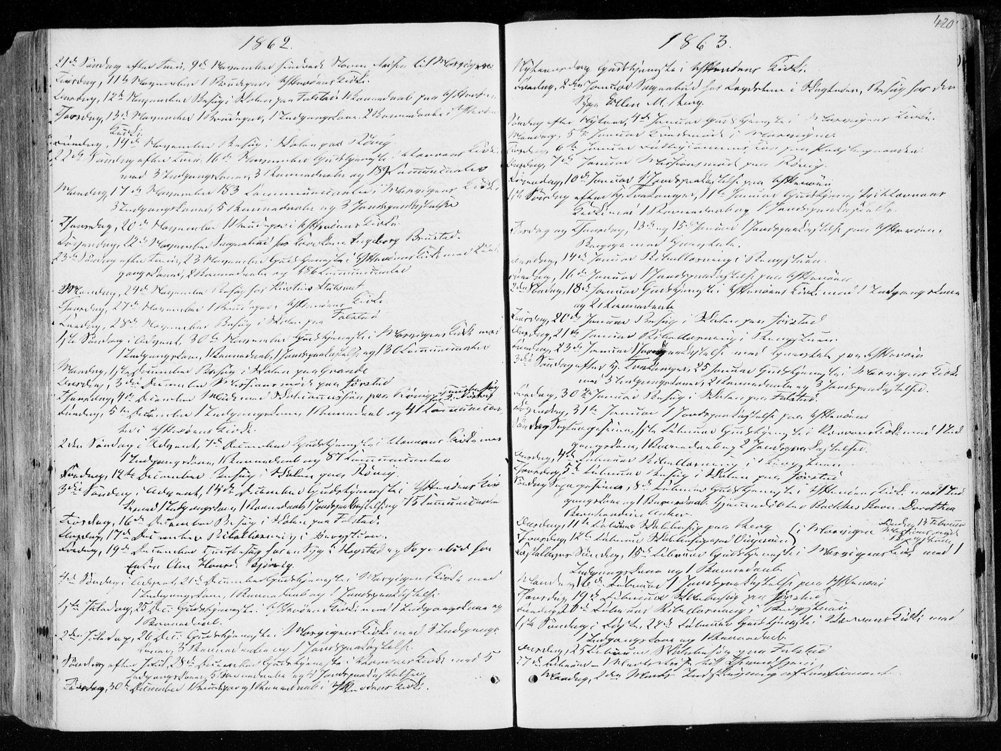 SAT, Ministerialprotokoller, klokkerbøker og fødselsregistre - Nord-Trøndelag, 722/L0218: Ministerialbok nr. 722A05, 1843-1868, s. 420