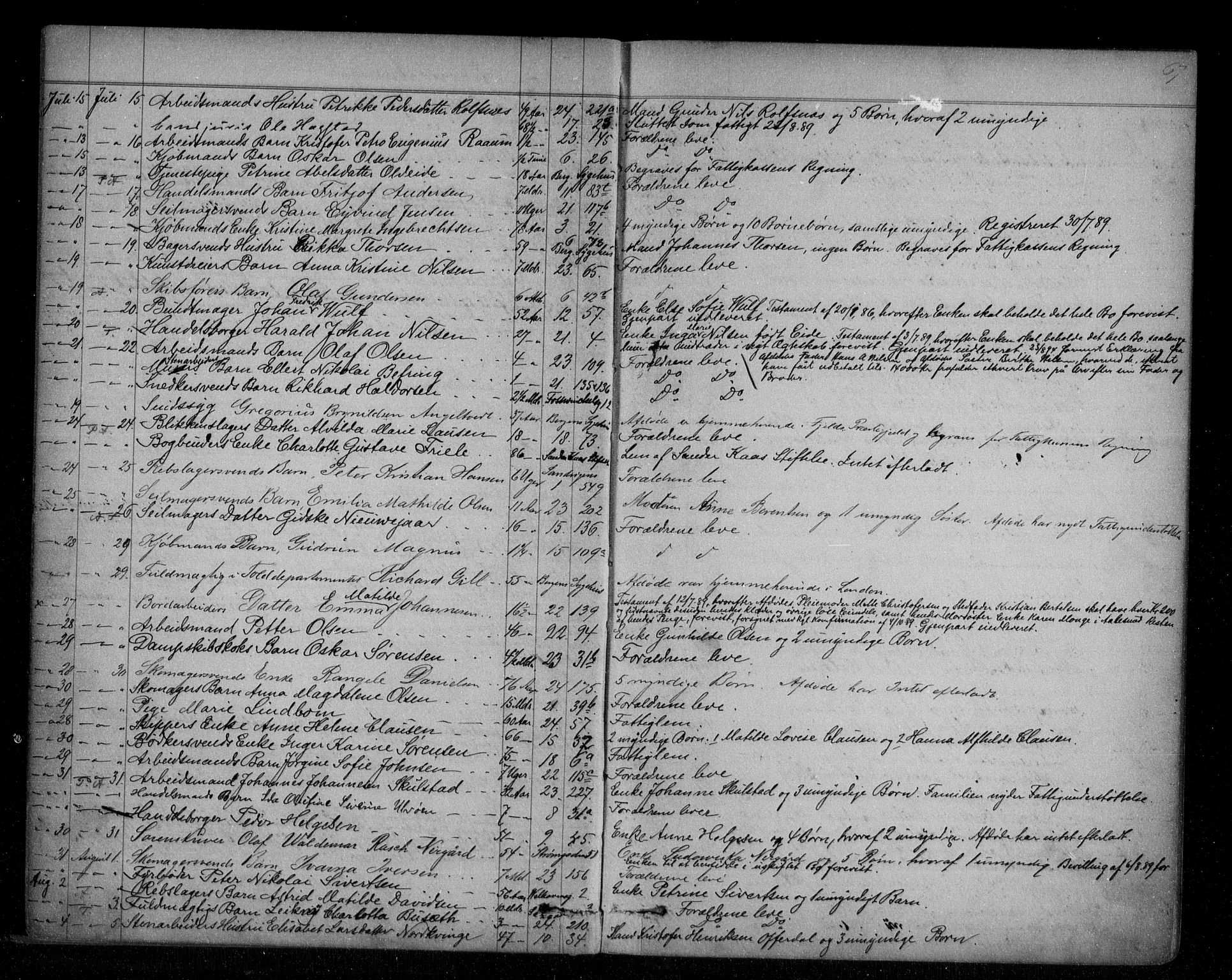 SAB, Byfogd og Byskriver i Bergen, 06/06Na/L0005: Dødsfallsjournaler, 1886-1892, s. 66b-67a