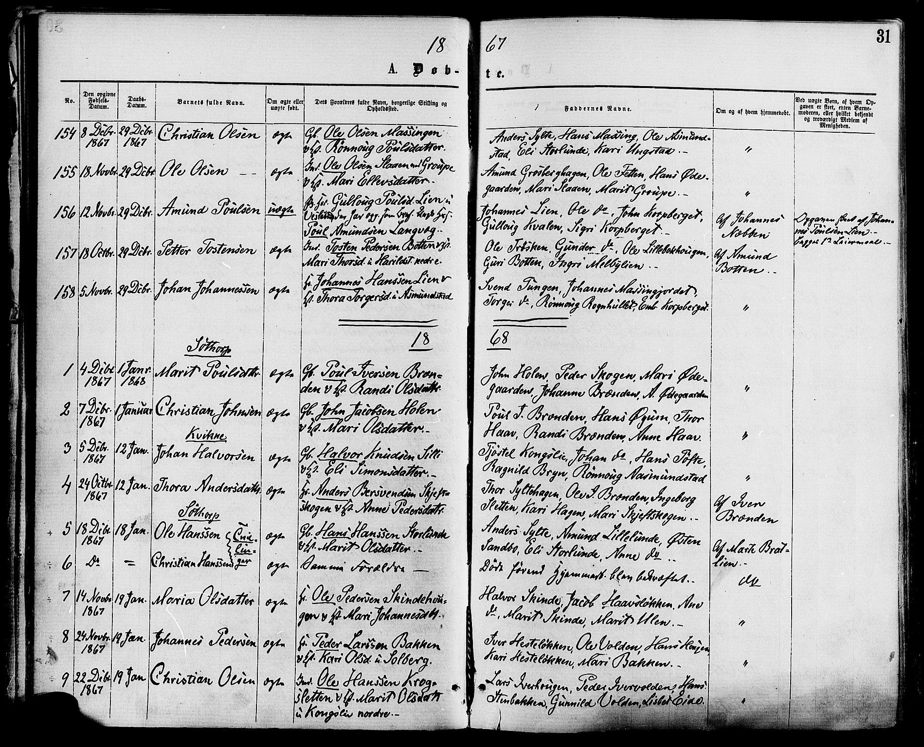 SAH, Nord-Fron prestekontor, Ministerialbok nr. 2, 1865-1883, s. 31