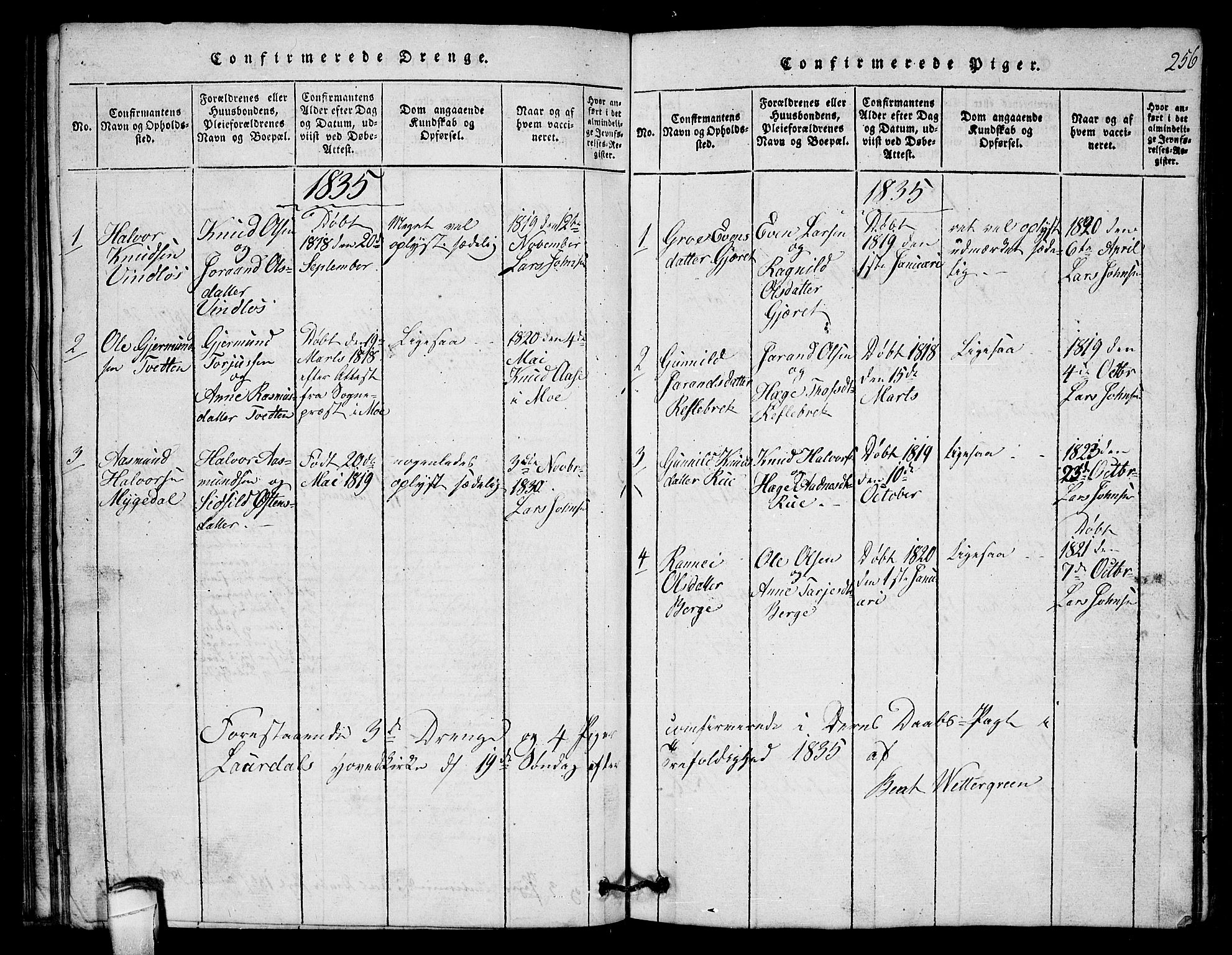 SAKO, Lårdal kirkebøker, G/Gb/L0001: Klokkerbok nr. II 1, 1815-1865, s. 256