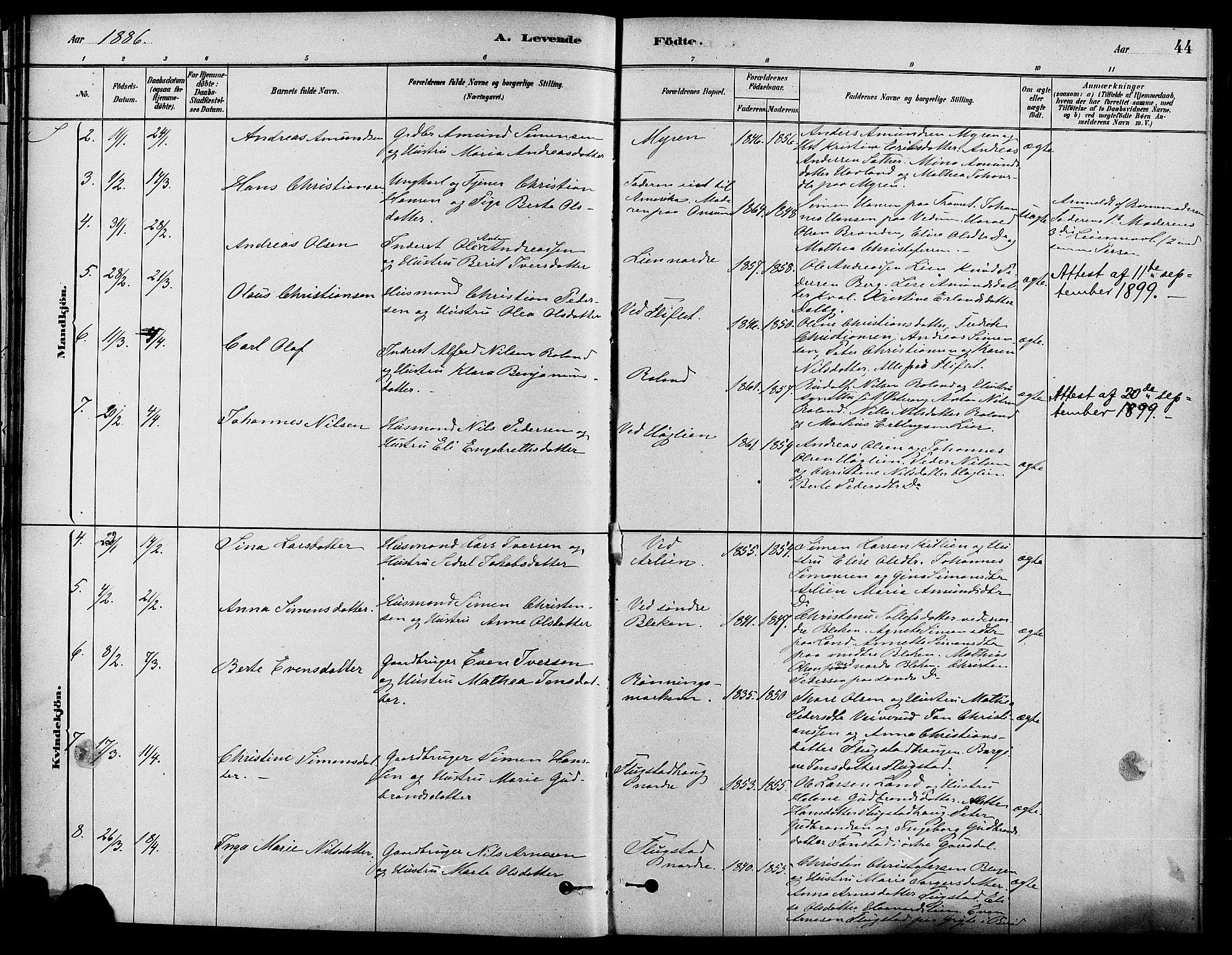 SAH, Fåberg prestekontor, H/Ha/Haa/L0008: Ministerialbok nr. 8, 1879-1898, s. 44