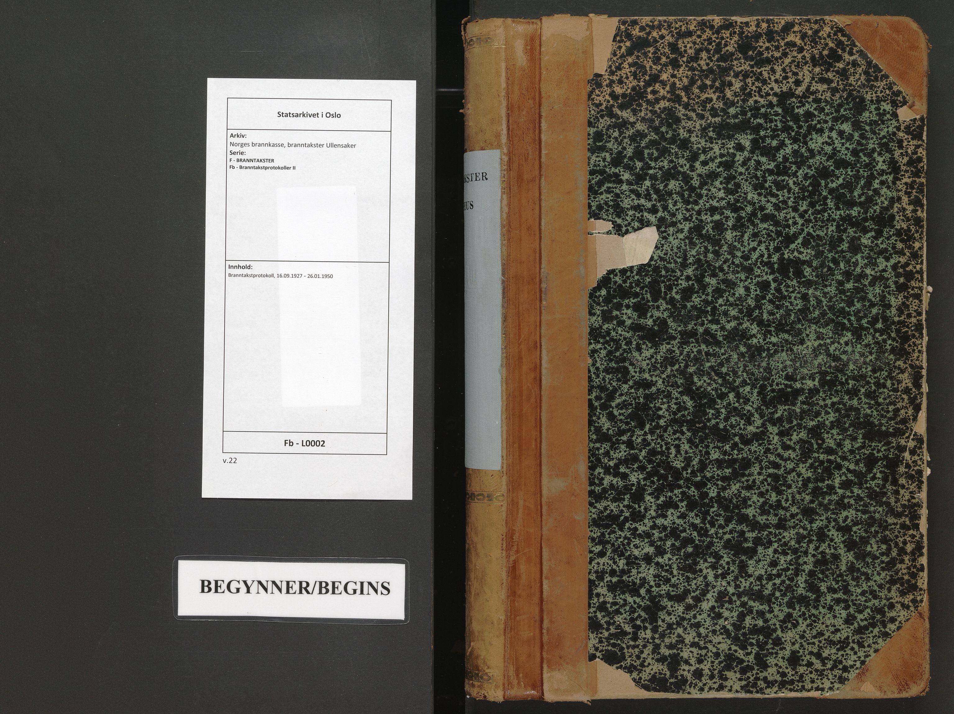 SAO, Norges brannkasse, branntakster Ullensaker, F/Fb/L0002: Branntakstprotokoll, 1927-1950