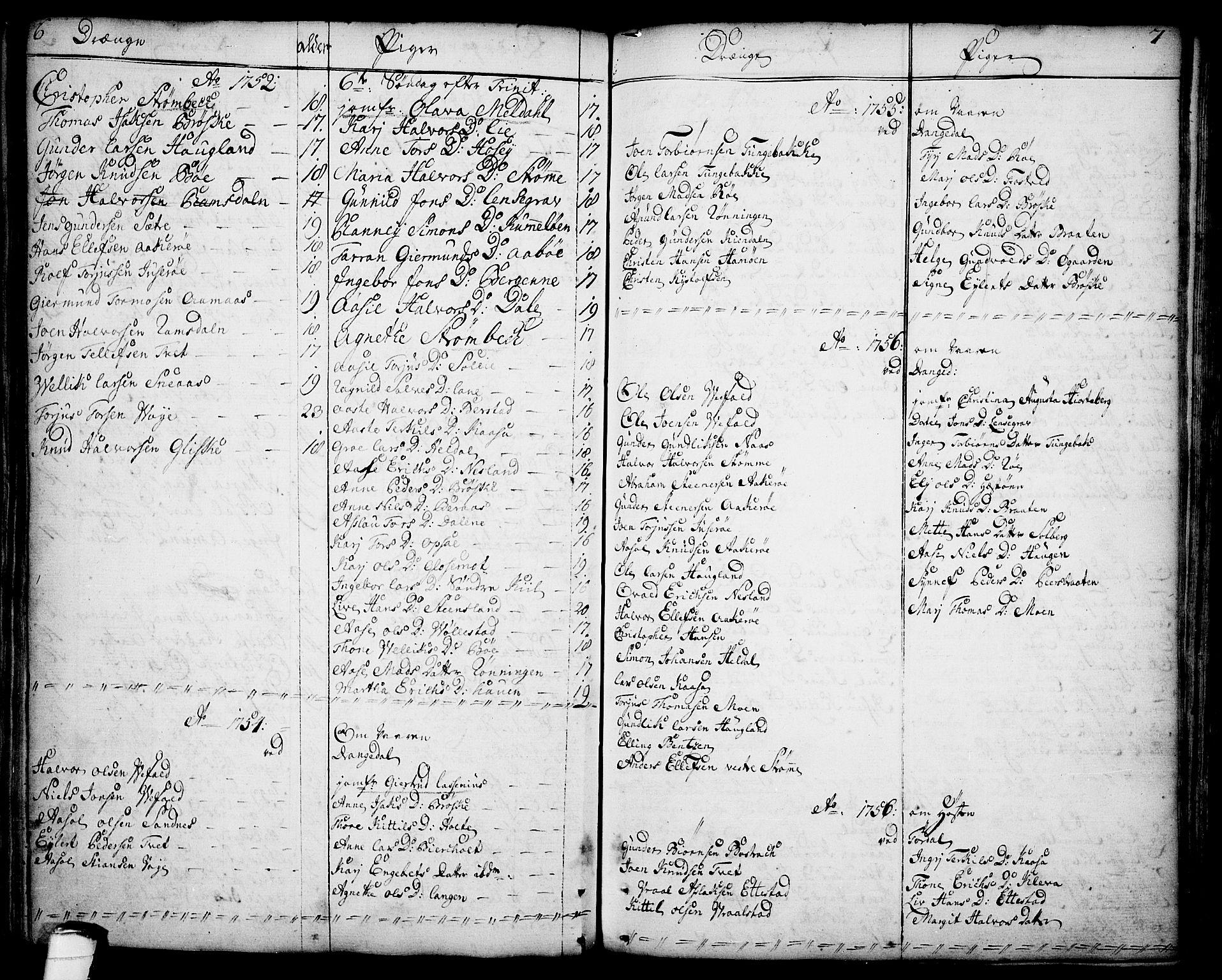 SAKO, Drangedal kirkebøker, F/Fa/L0001: Ministerialbok nr. 1, 1697-1767, s. 6-7