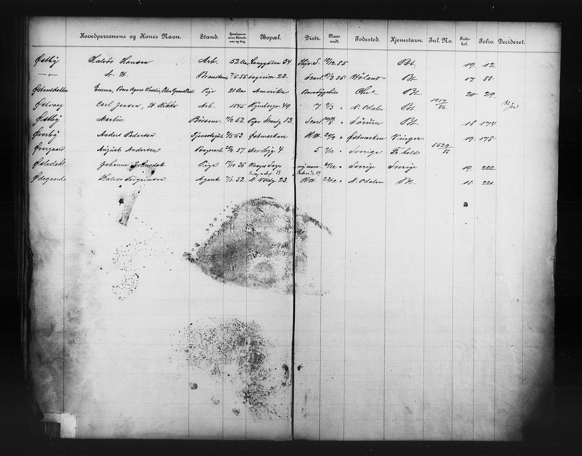 OBA, Fattigvesenet, Fb/L0006: Hjemstavnsregister, 1886, s. 191