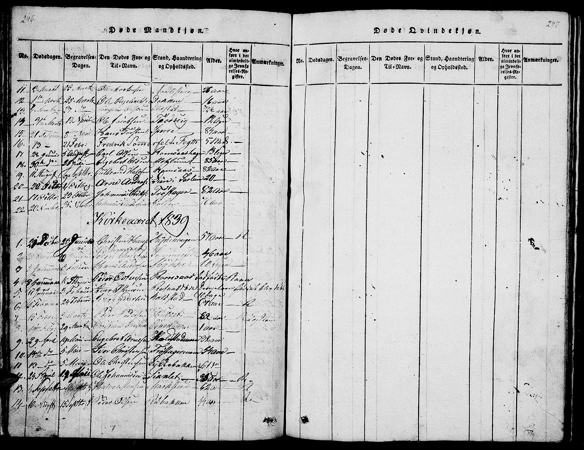 SAH, Ringebu prestekontor, Klokkerbok nr. 1, 1821-1839, s. 246-247