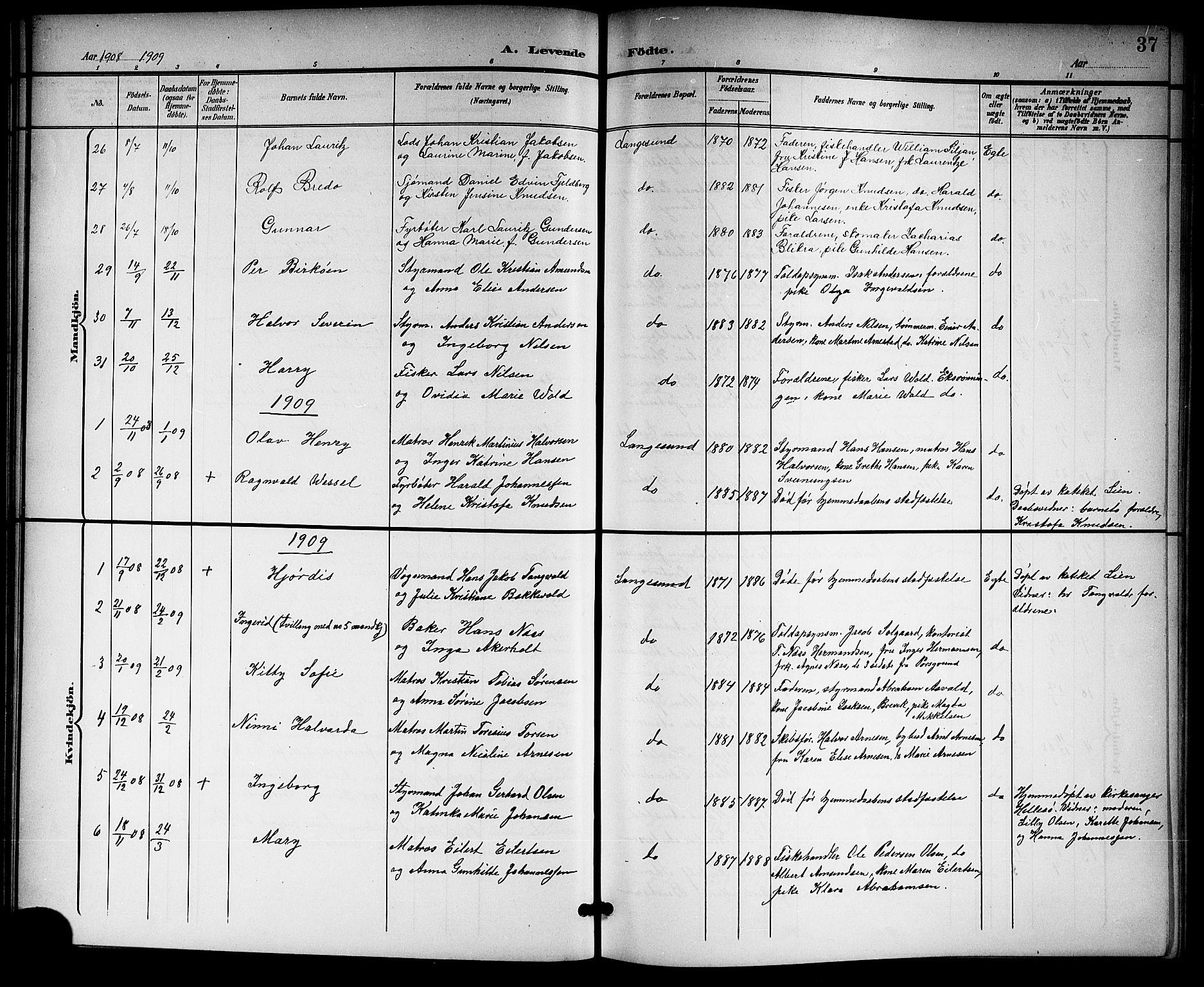 SAKO, Langesund kirkebøker, G/Ga/L0006: Klokkerbok nr. 6, 1899-1918, s. 37