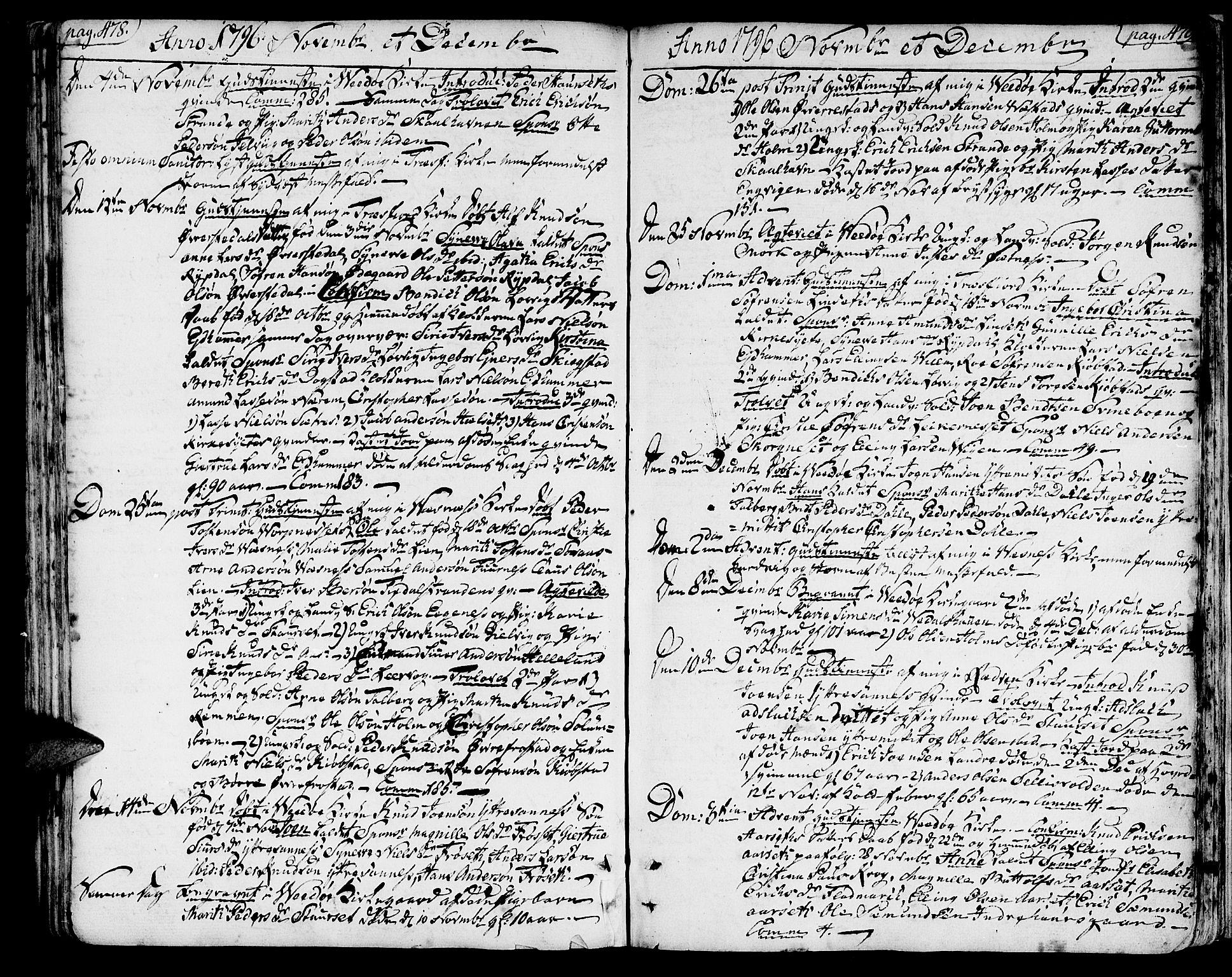 SAT, Ministerialprotokoller, klokkerbøker og fødselsregistre - Møre og Romsdal, 547/L0600: Ministerialbok nr. 547A02, 1765-1799, s. 478-479