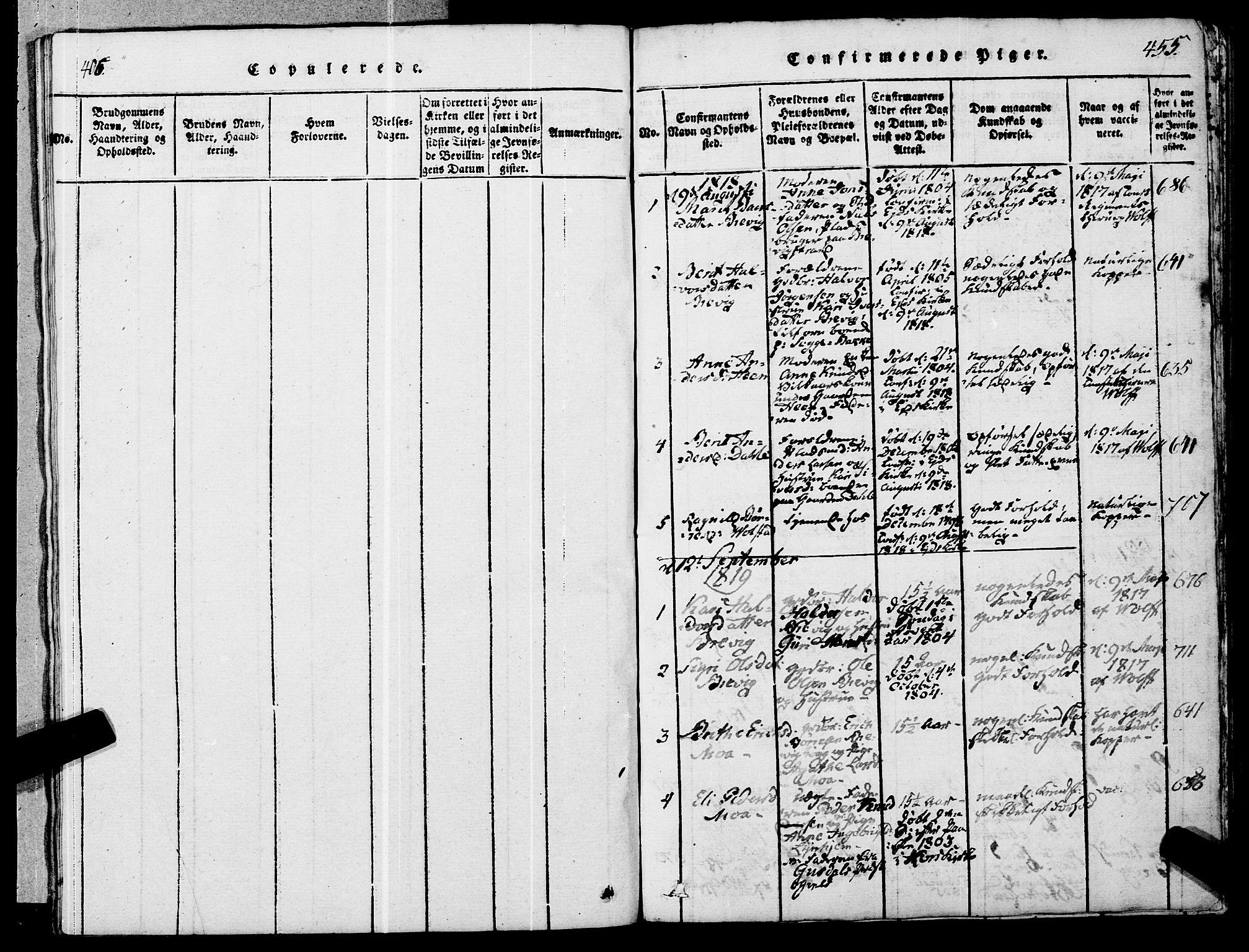SAT, Ministerialprotokoller, klokkerbøker og fødselsregistre - Møre og Romsdal, 545/L0585: Ministerialbok nr. 545A01, 1818-1853, s. 454-455