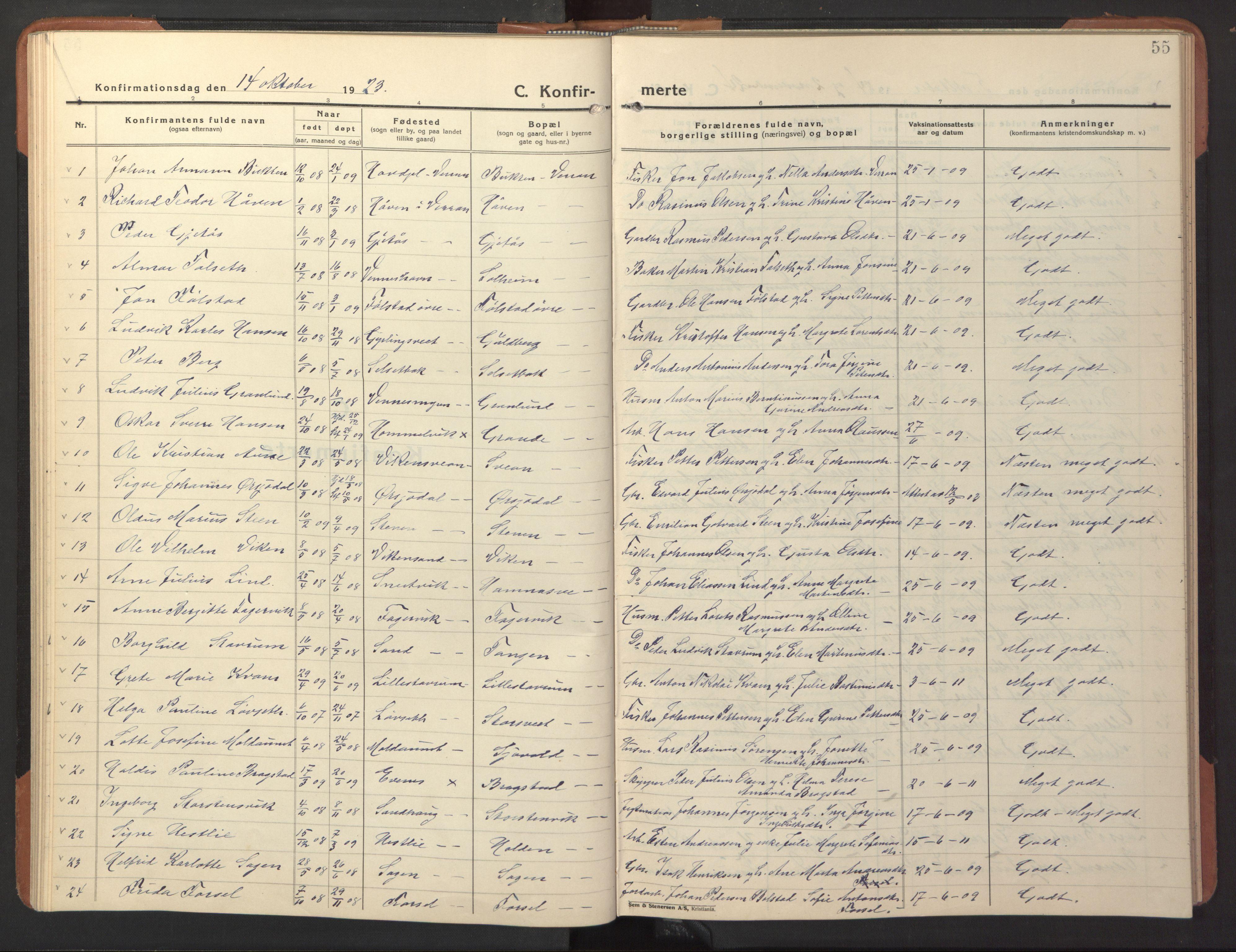 SAT, Ministerialprotokoller, klokkerbøker og fødselsregistre - Nord-Trøndelag, 744/L0425: Klokkerbok nr. 744C04, 1924-1947, s. 55