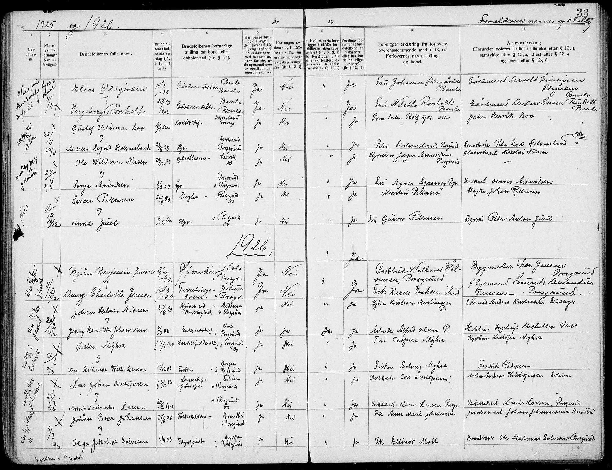 SAKO, Porsgrunn kirkebøker , H/Ha/L0001: Lysningsprotokoll nr. 1, 1919-1937, s. 33