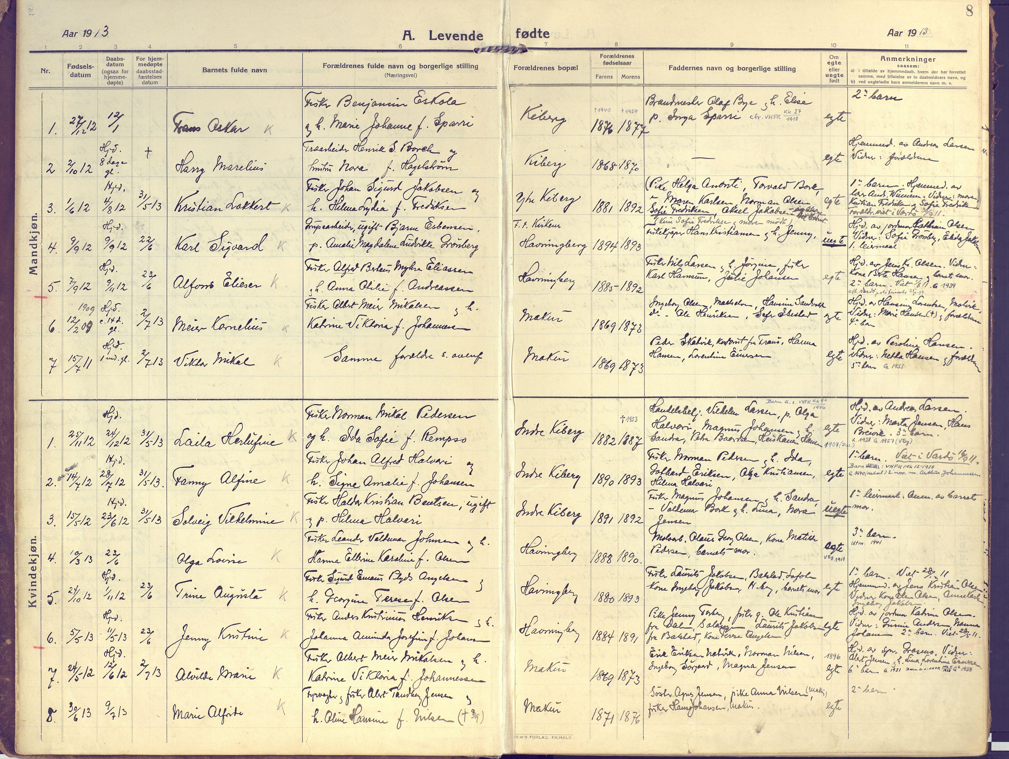 SATØ, Vardø sokneprestkontor, H/Ha/L0013kirke: Ministerialbok nr. 13, 1912-1928, s. 8