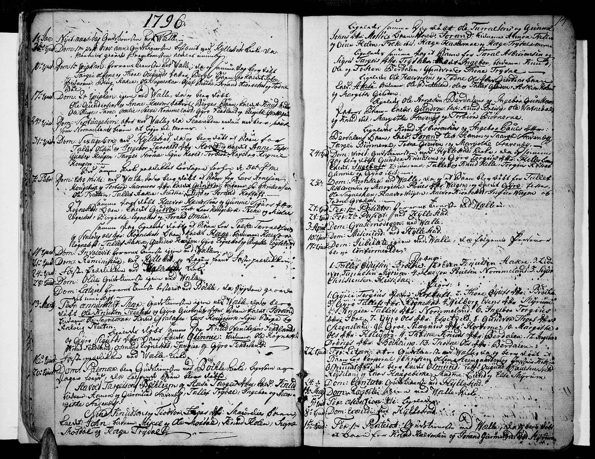 SAK, Valle sokneprestkontor, F/Fa/Fac/L0004: Ministerialbok nr. A 4, 1790-1816, s. 14