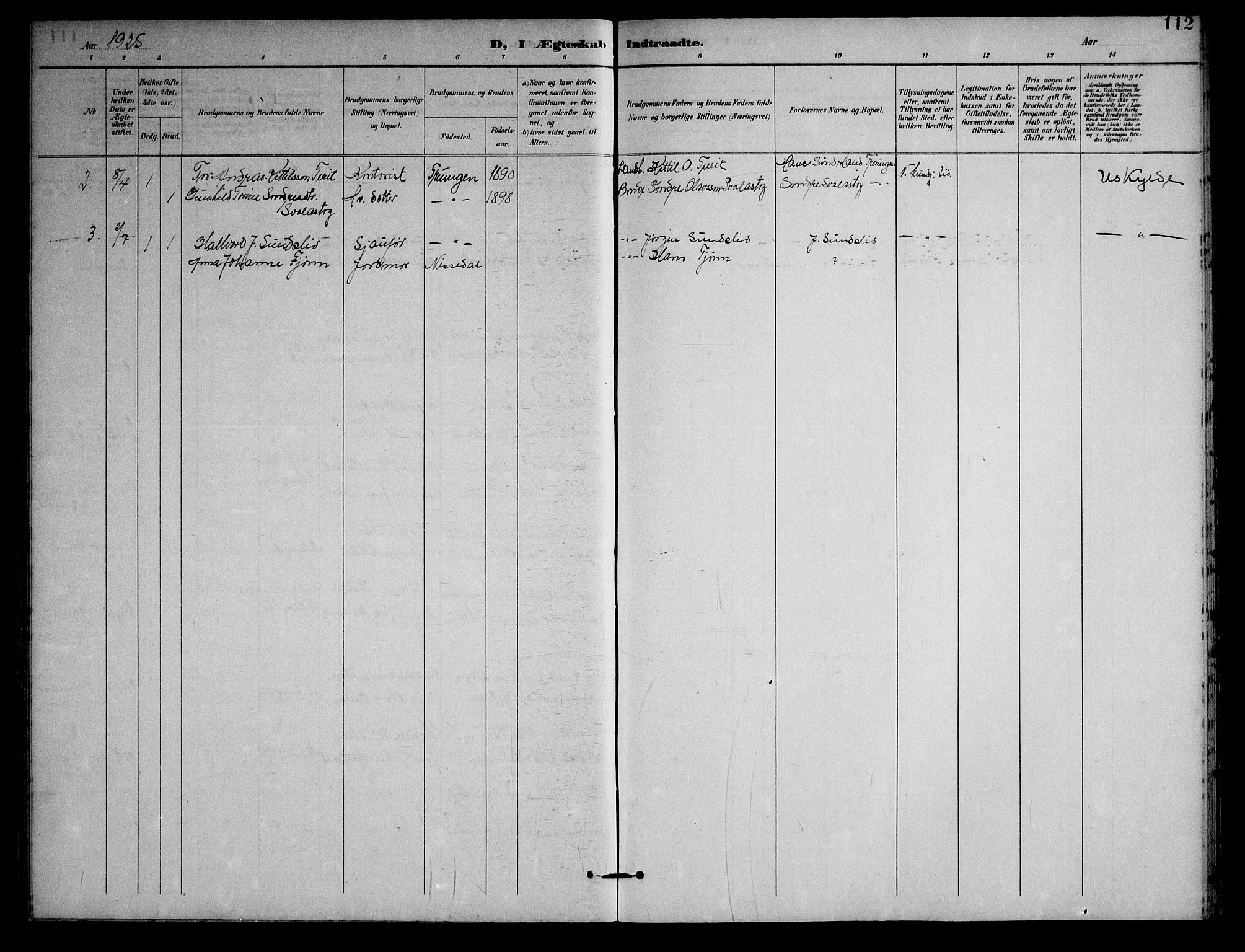 SAKO, Nissedal kirkebøker, G/Gb/L0003: Klokkerbok nr. II 3, 1893-1928, s. 112