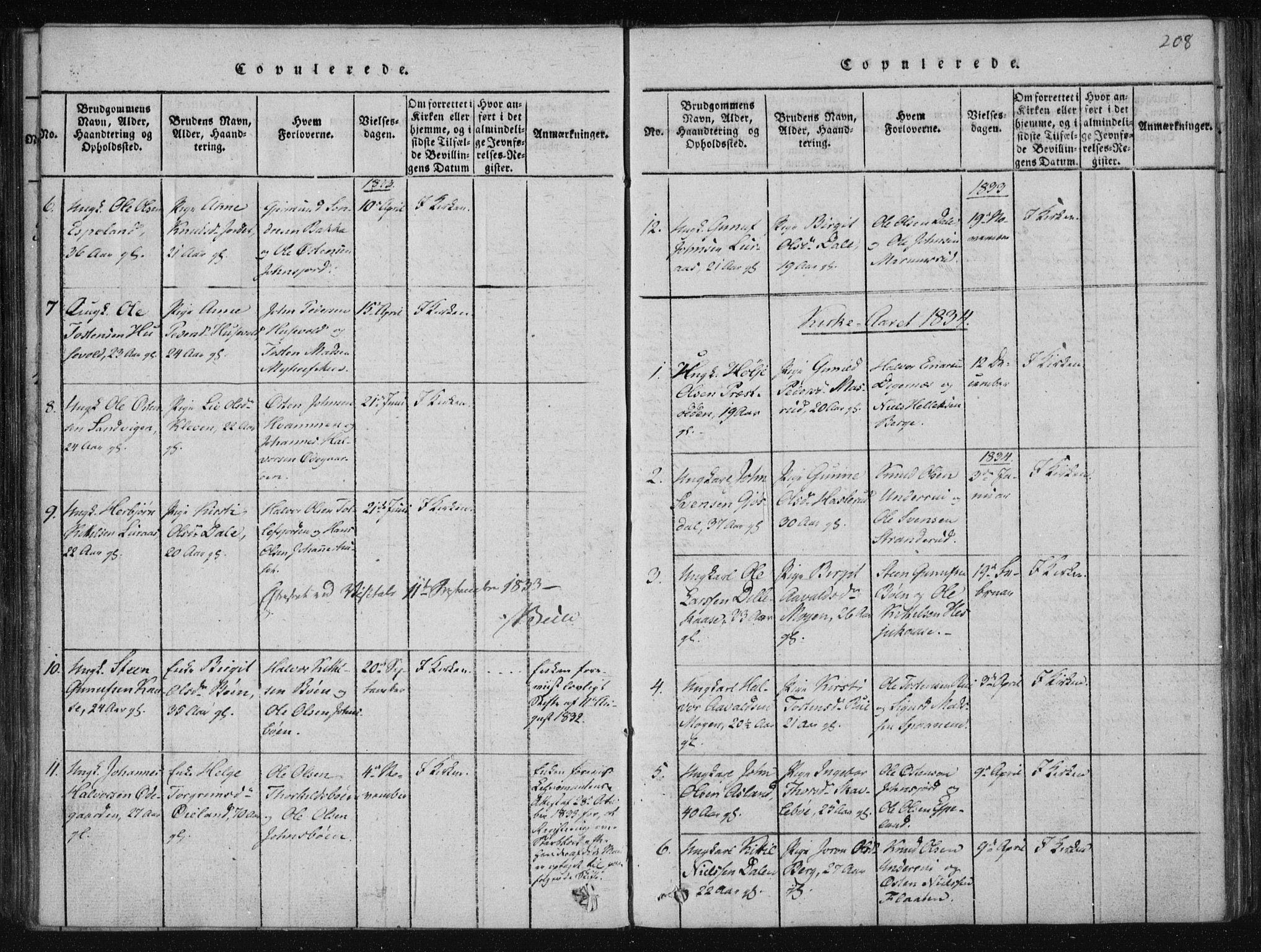 SAKO, Tinn kirkebøker, F/Fa/L0004: Ministerialbok nr. I 4, 1815-1843, s. 208