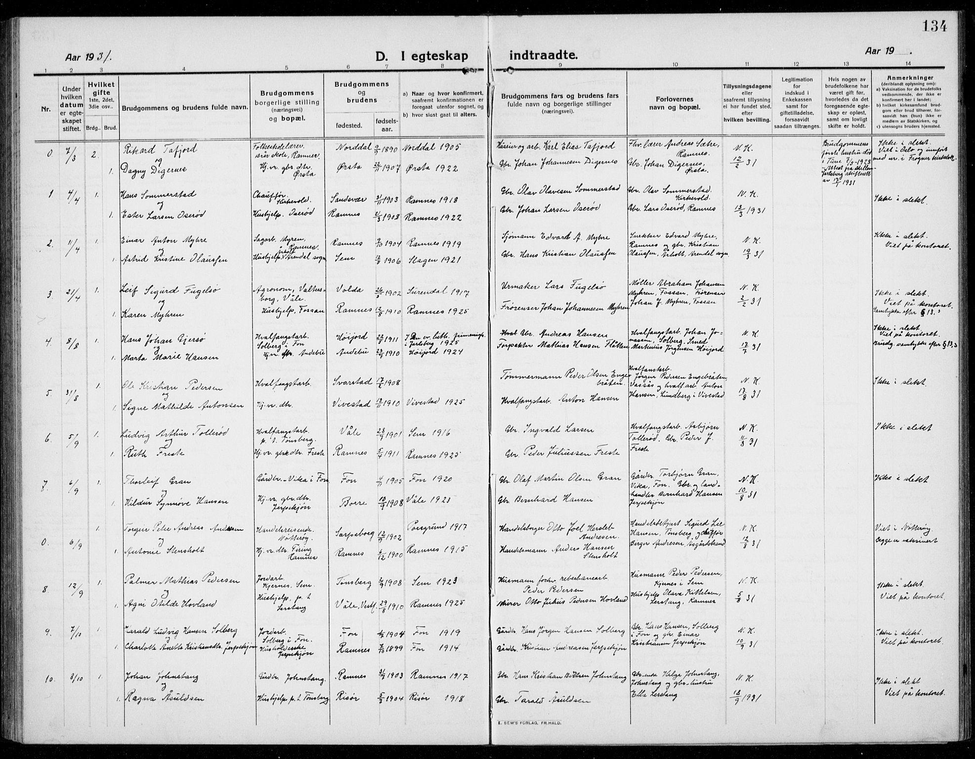SAKO, Ramnes kirkebøker, G/Ga/L0005: Klokkerbok nr. I 5, 1912-1936, s. 134