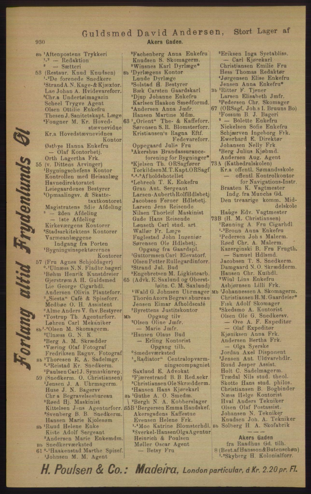 RA, Kristiania adressebok (publikasjon)*, 1906, s. 930