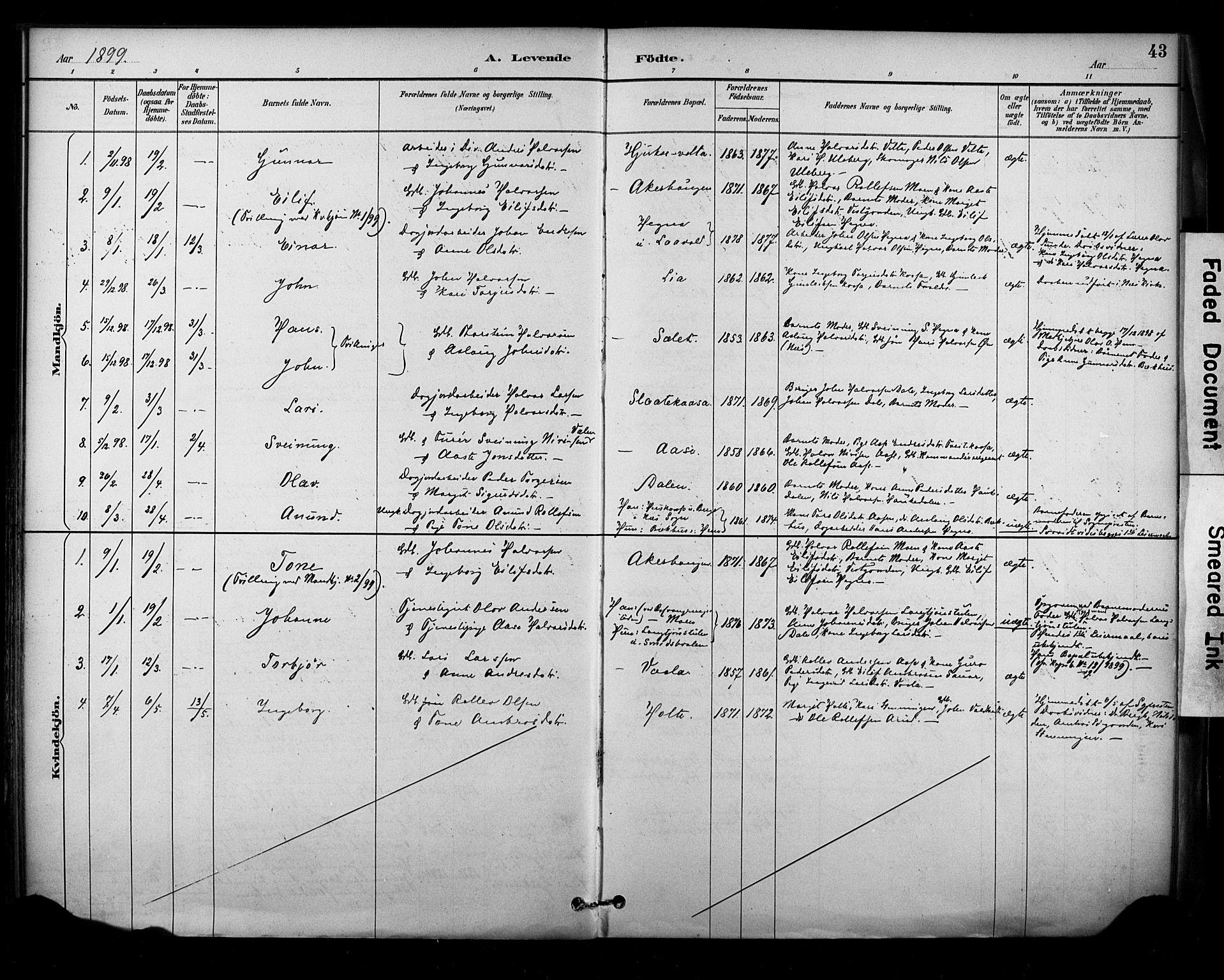 SAKO, Sauherad kirkebøker, F/Fa/L0009: Ministerialbok nr. I 9, 1887-1912, s. 43