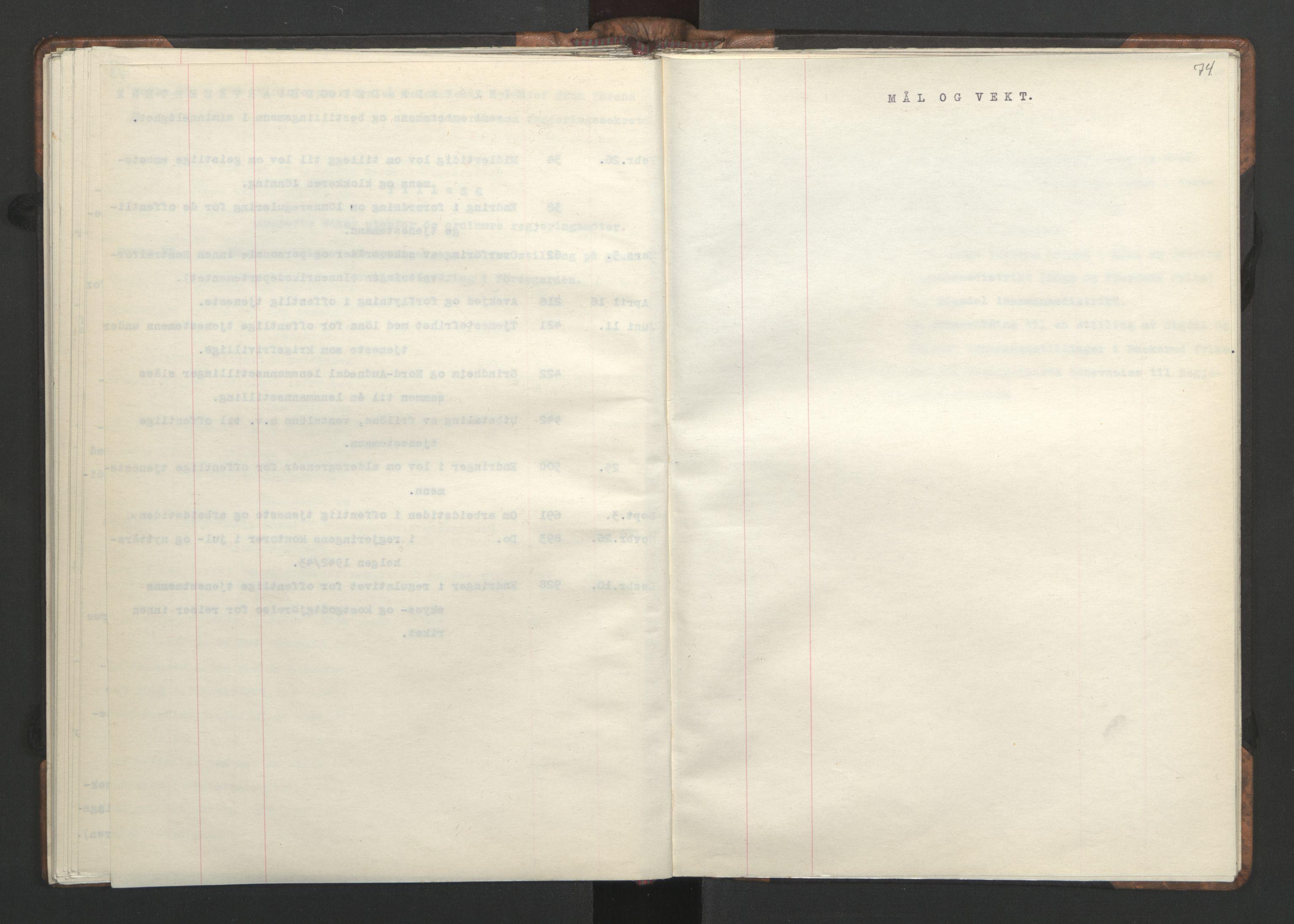 RA, NS-administrasjonen 1940-1945 (Statsrådsekretariatet, de kommisariske statsråder mm), D/Da/L0002: Register (RA j.nr. 985/1943, tilgangsnr. 17/1943), 1942, s. 73b-74a