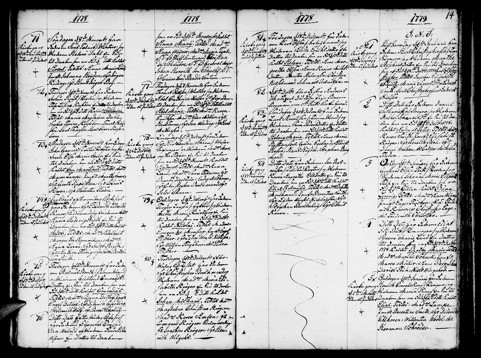 SAB, Nykirken Sokneprestembete, H/Haa: Ministerialbok nr. A 5, 1775-1808, s. 14