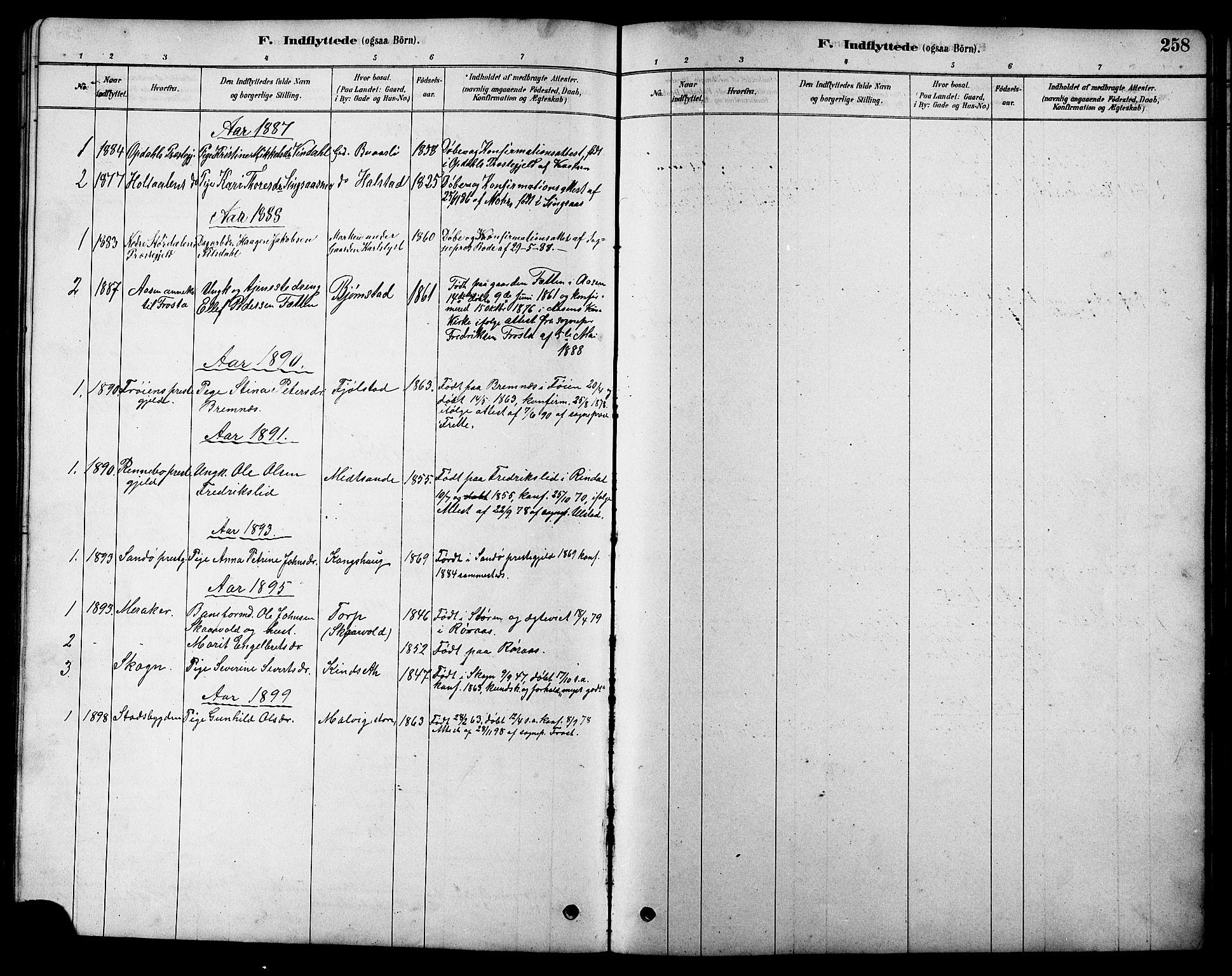 SAT, Ministerialprotokoller, klokkerbøker og fødselsregistre - Sør-Trøndelag, 616/L0423: Klokkerbok nr. 616C06, 1878-1903, s. 258