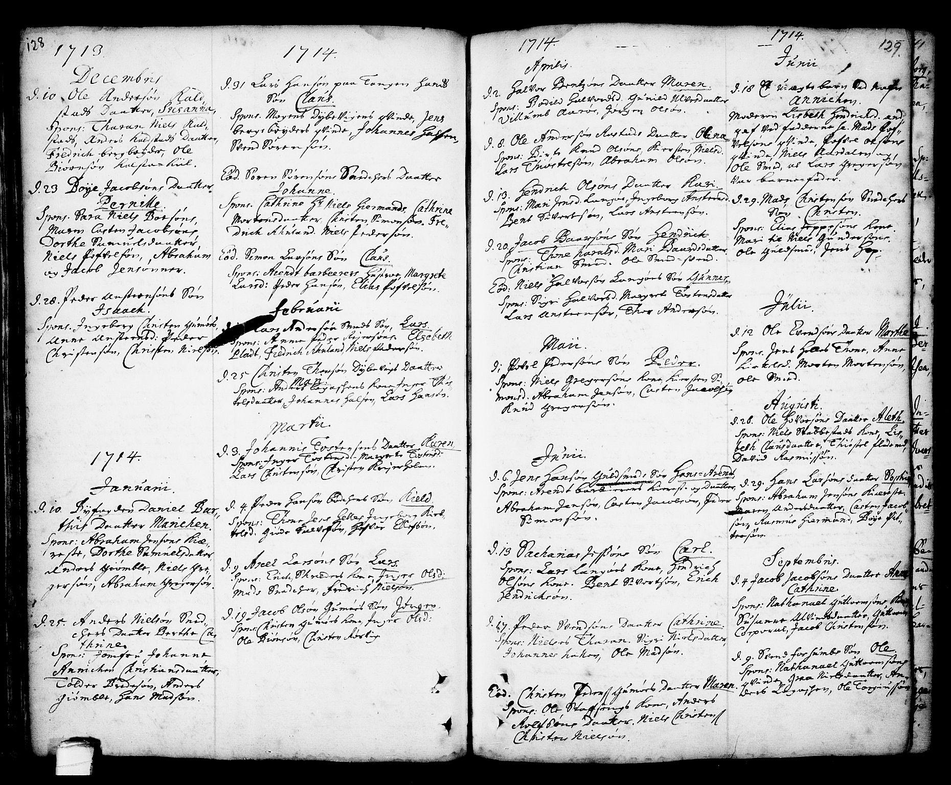 SAKO, Kragerø kirkebøker, F/Fa/L0001: Ministerialbok nr. 1, 1702-1766, s. 128-129