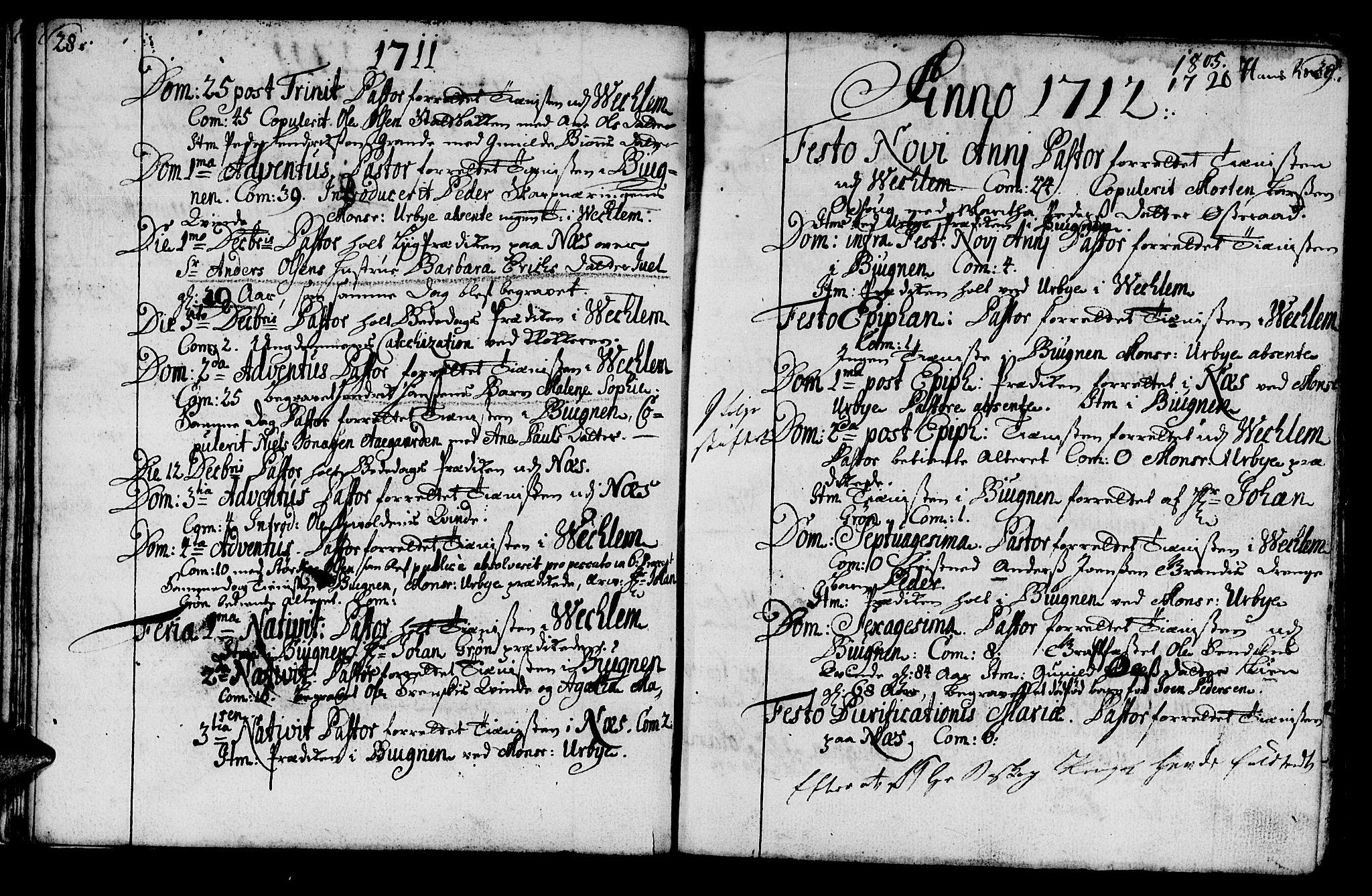 SAT, Ministerialprotokoller, klokkerbøker og fødselsregistre - Sør-Trøndelag, 659/L0731: Ministerialbok nr. 659A01, 1709-1731, s. 28-29