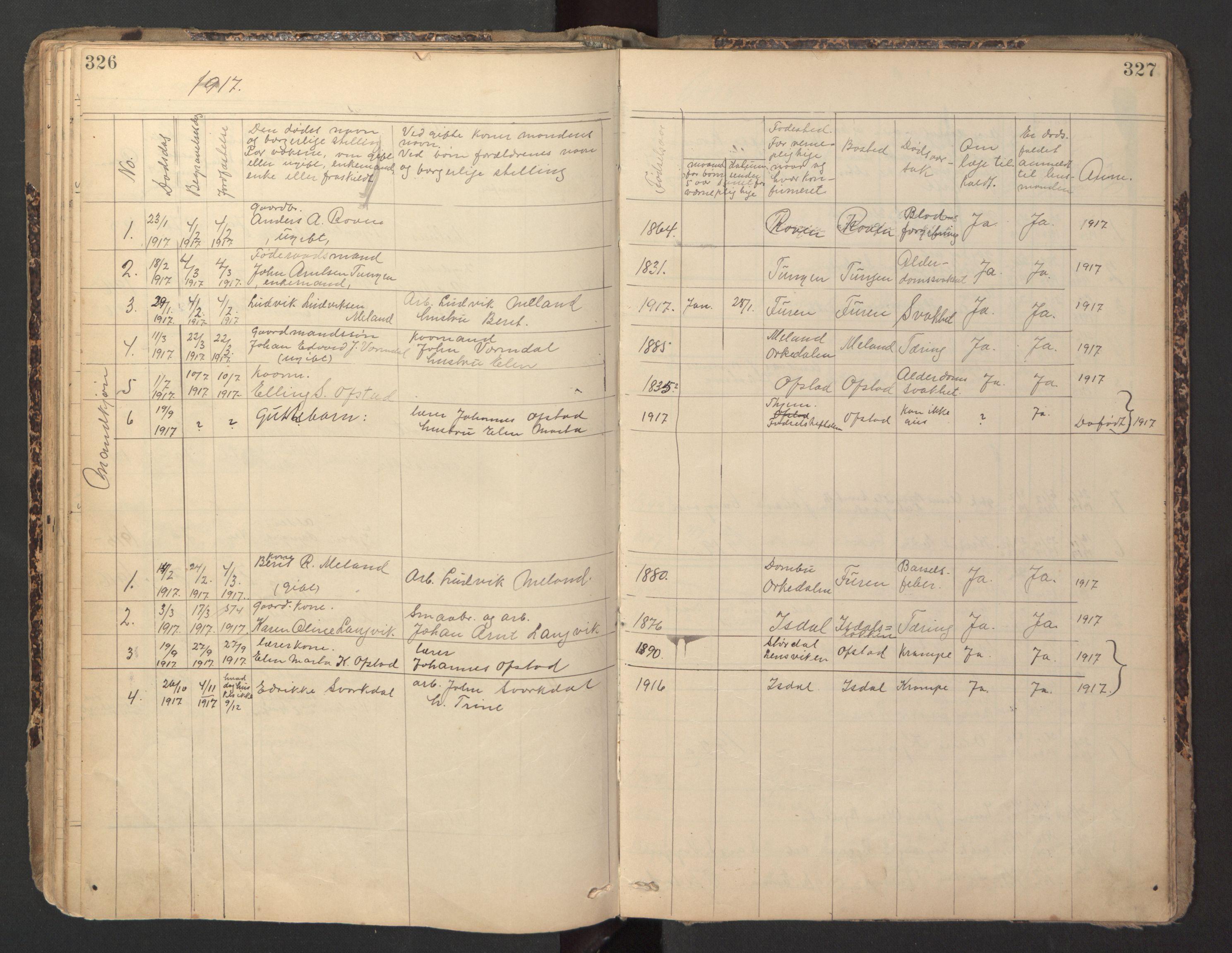 SAT, Ministerialprotokoller, klokkerbøker og fødselsregistre - Sør-Trøndelag, 670/L0837: Klokkerbok nr. 670C01, 1905-1946, s. 326-327