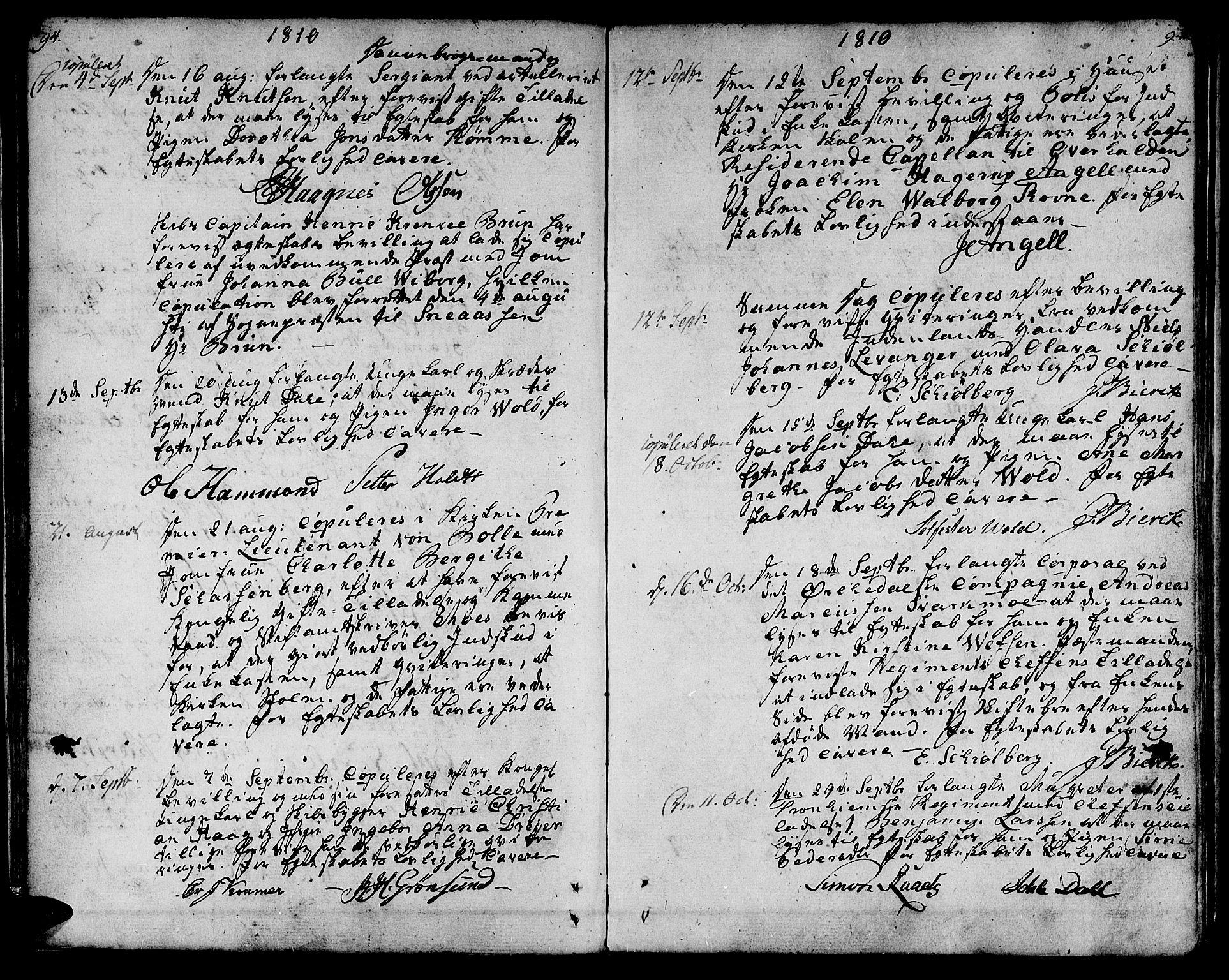 SAT, Ministerialprotokoller, klokkerbøker og fødselsregistre - Sør-Trøndelag, 601/L0042: Ministerialbok nr. 601A10, 1802-1830, s. 94-95