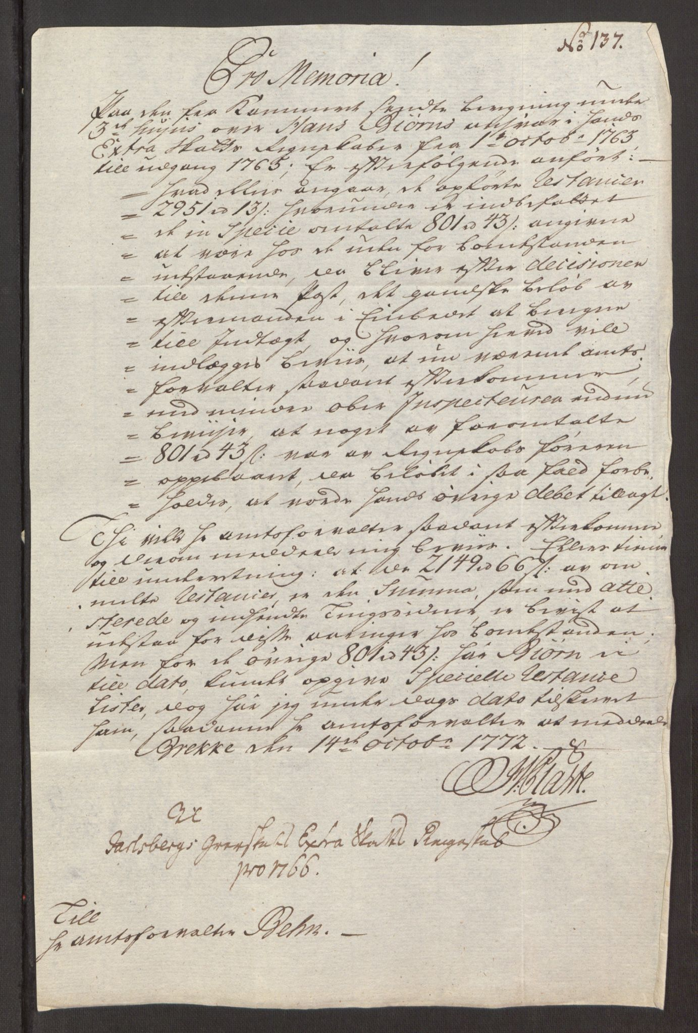 RA, Rentekammeret inntil 1814, Reviderte regnskaper, Fogderegnskap, R32/L1960: Ekstraskatten Jarlsberg grevskap, 1762-1772, s. 112