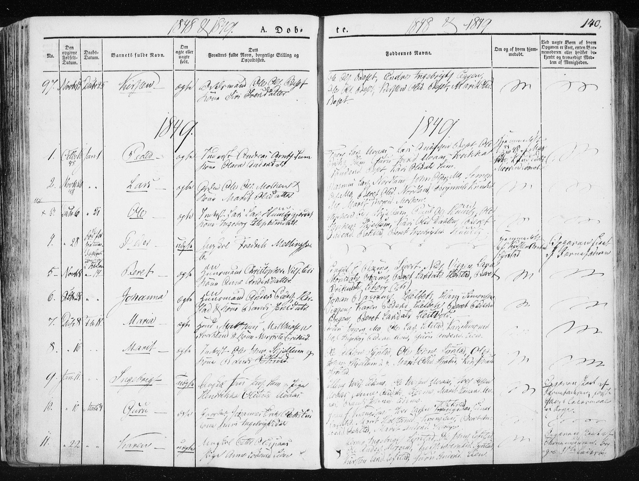 SAT, Ministerialprotokoller, klokkerbøker og fødselsregistre - Sør-Trøndelag, 665/L0771: Ministerialbok nr. 665A06, 1830-1856, s. 140