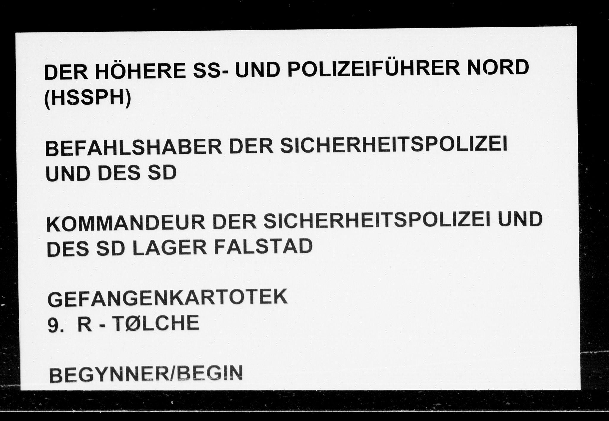 RA, Befehlshaber der Sicherheitspolizei und des SD, F/Fc/L0010: Fangeregister Falstad: R - Tølche og Tønseth, 1941-1945